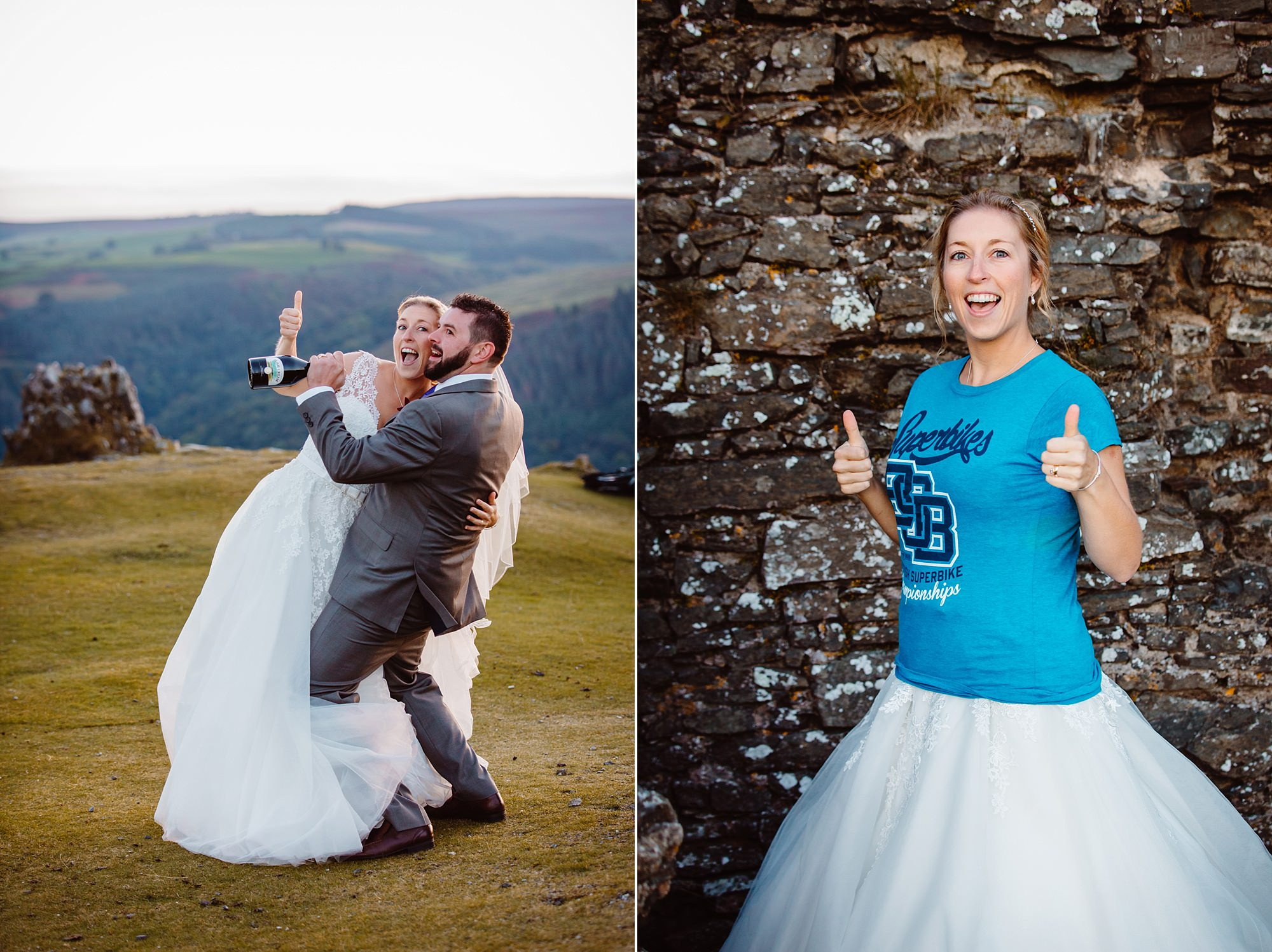 Castell dinas bran wedding photography funny portraits of bride and groom after their couples session in llangollen