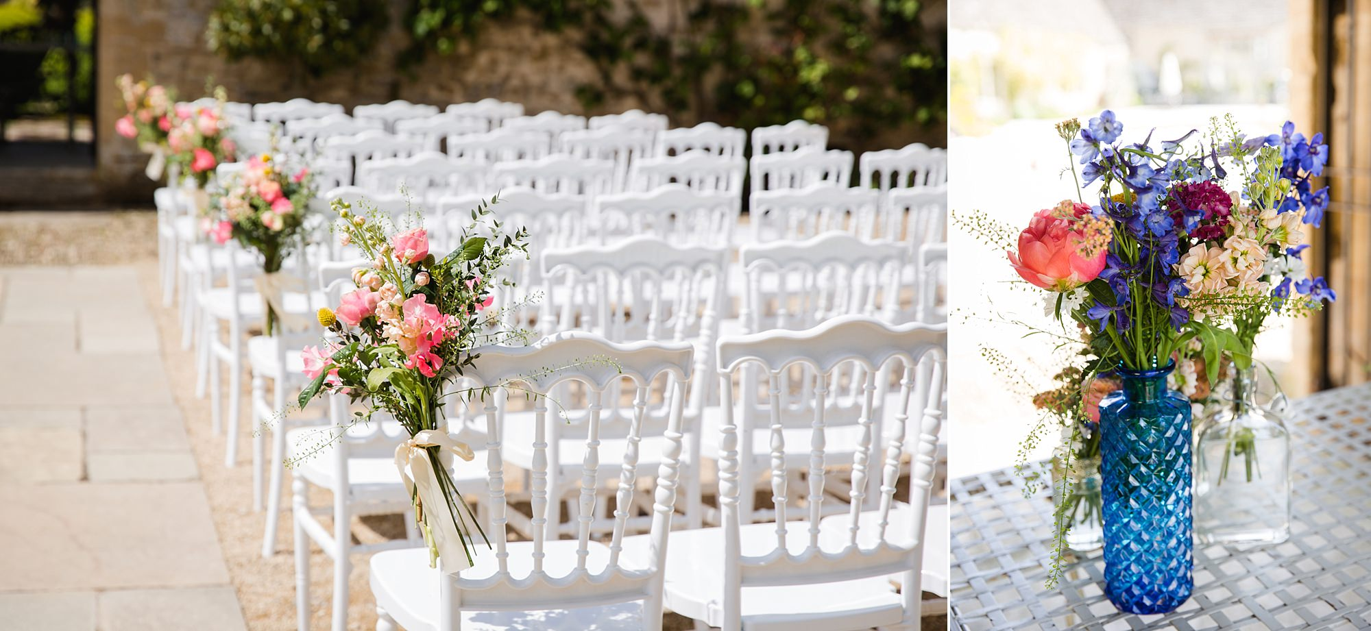 Caswell House Wedding chairs and floral decorations