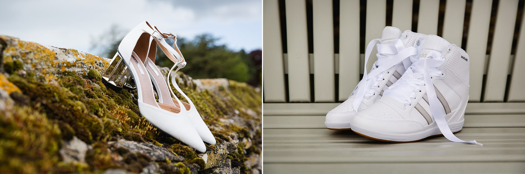 Caswell House Wedding detail image of bride's shoes and trainers