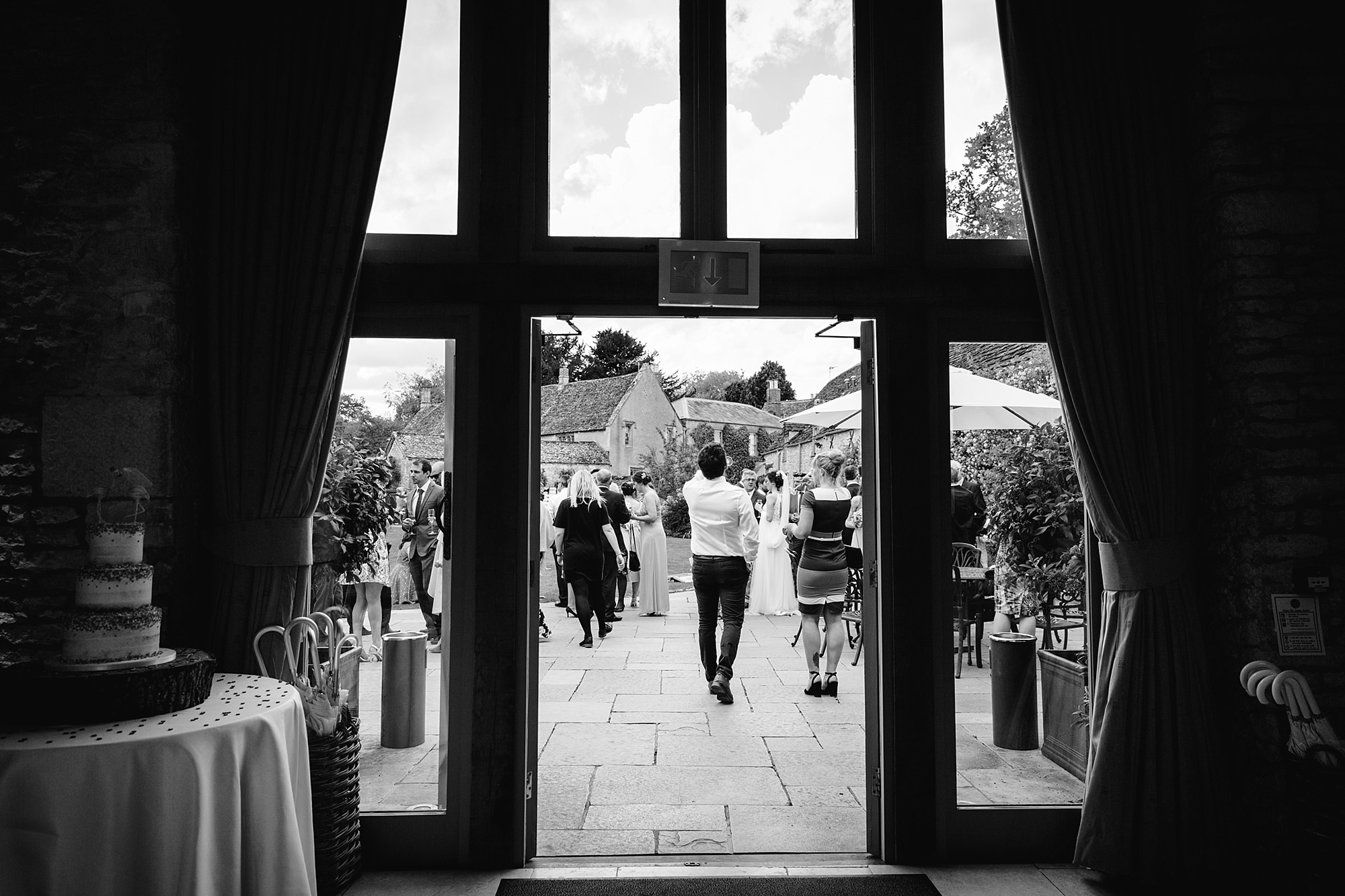 Caswell House Wedding view through barn doors