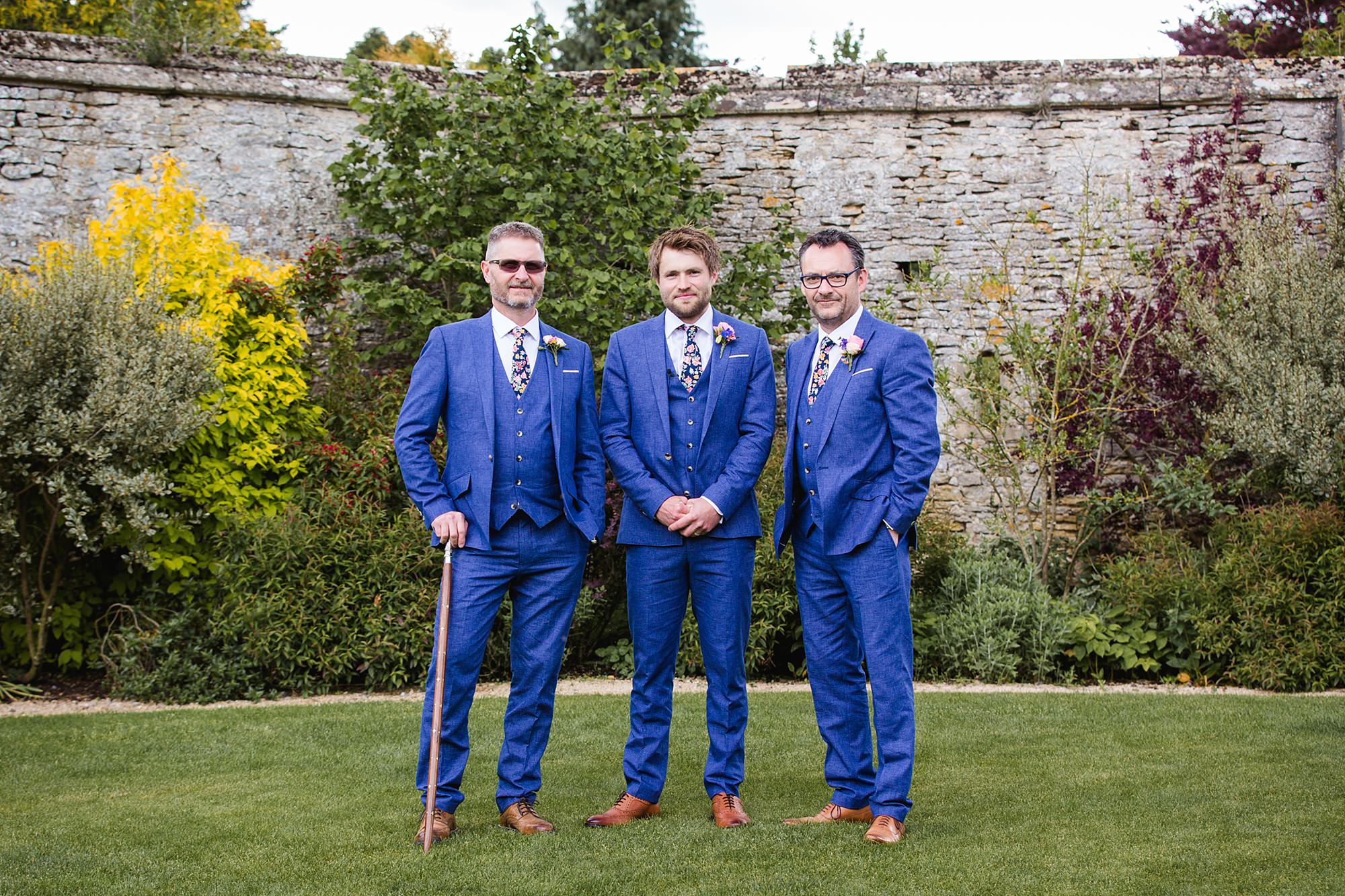 Caswell House Wedding portrait of groom and groomsmen
