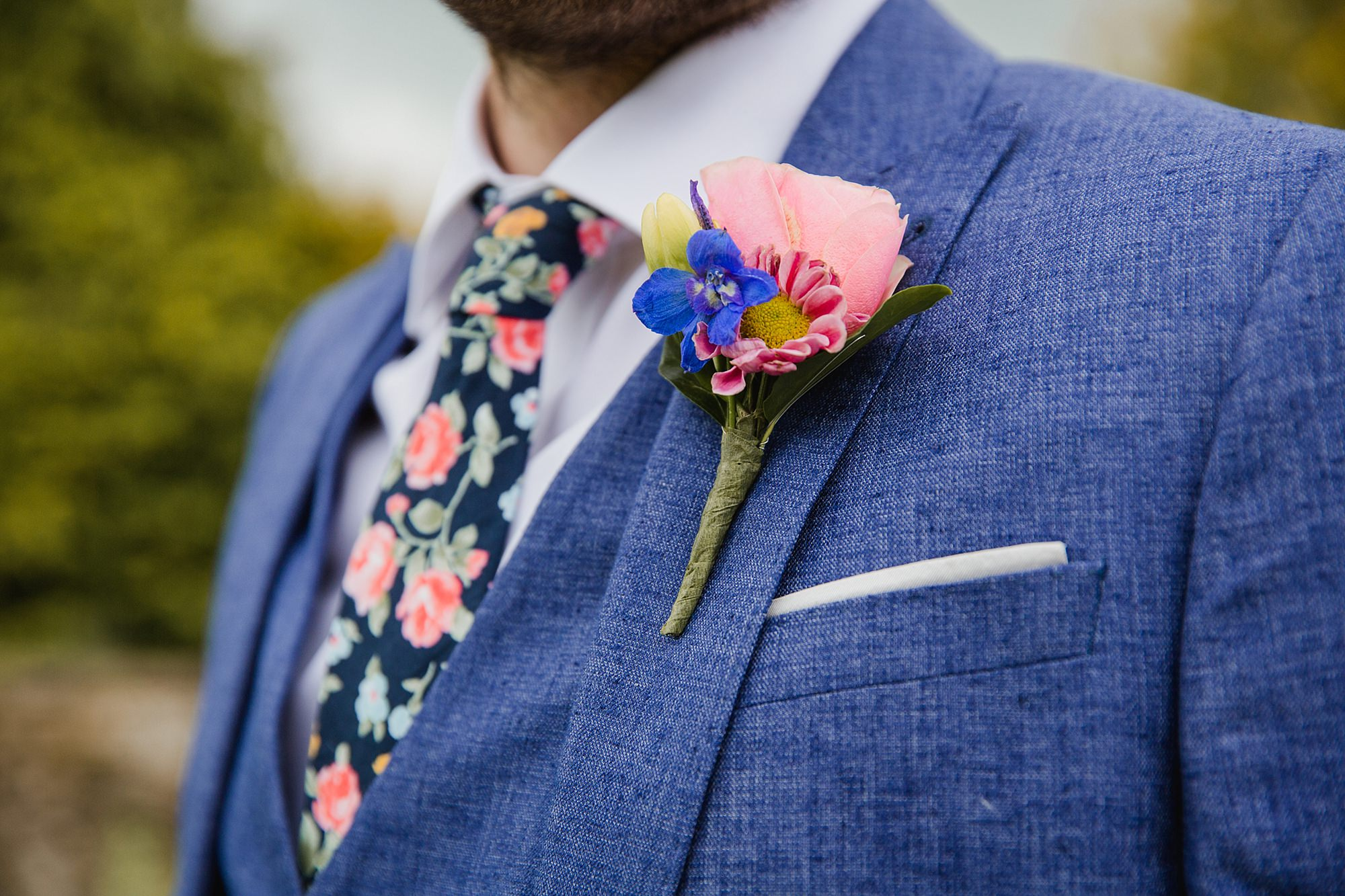Caswell House Wedding grooms burronhole flowers