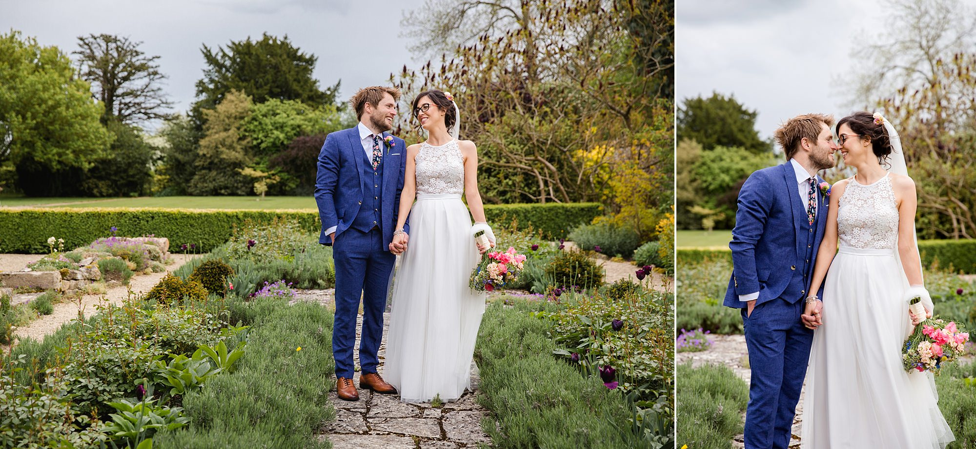 Caswell House Wedding a bride and room laugh together in the gardens