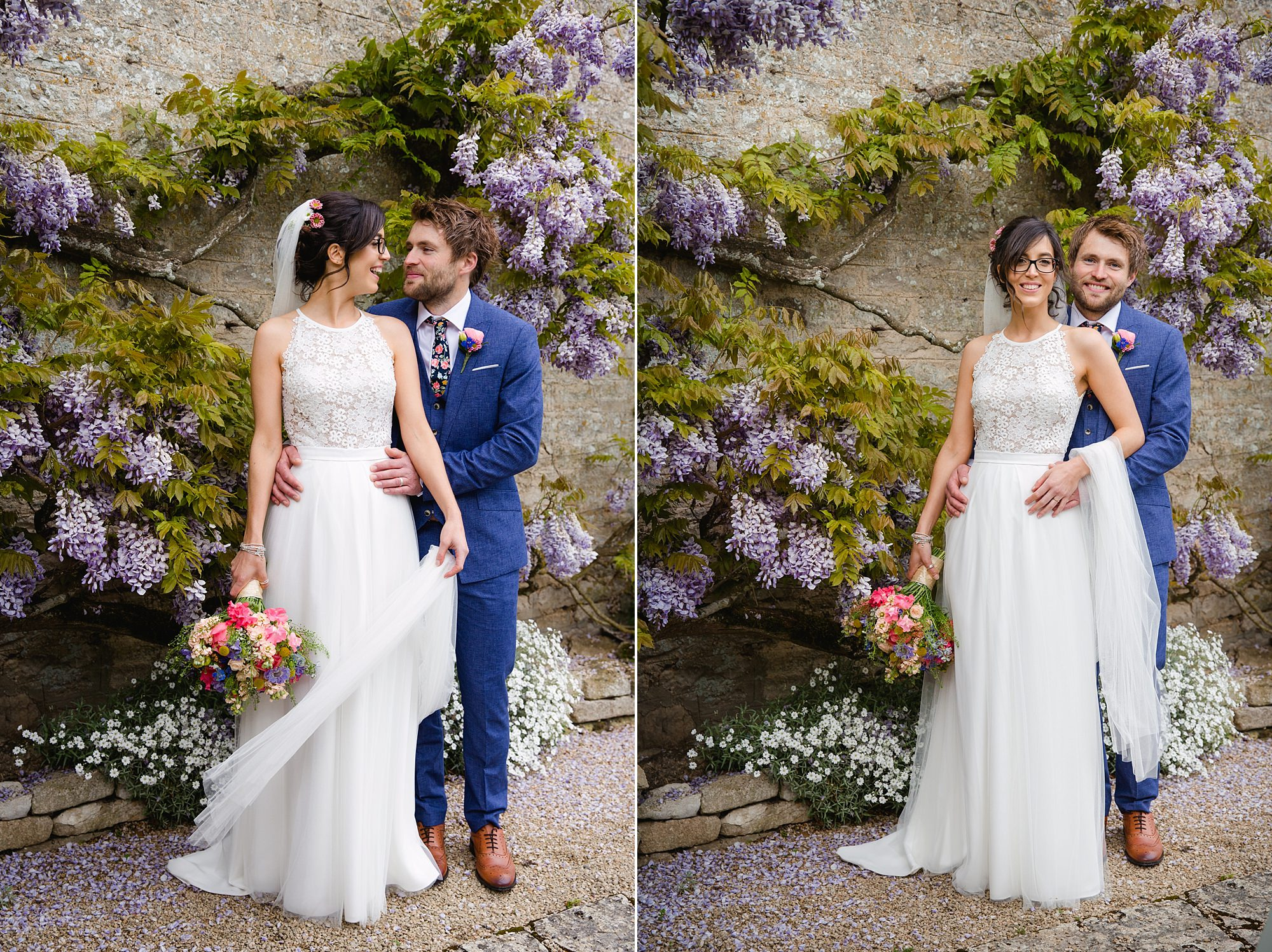 Caswell House Wedding portrait of bride and groom together in front of wisteria wall
