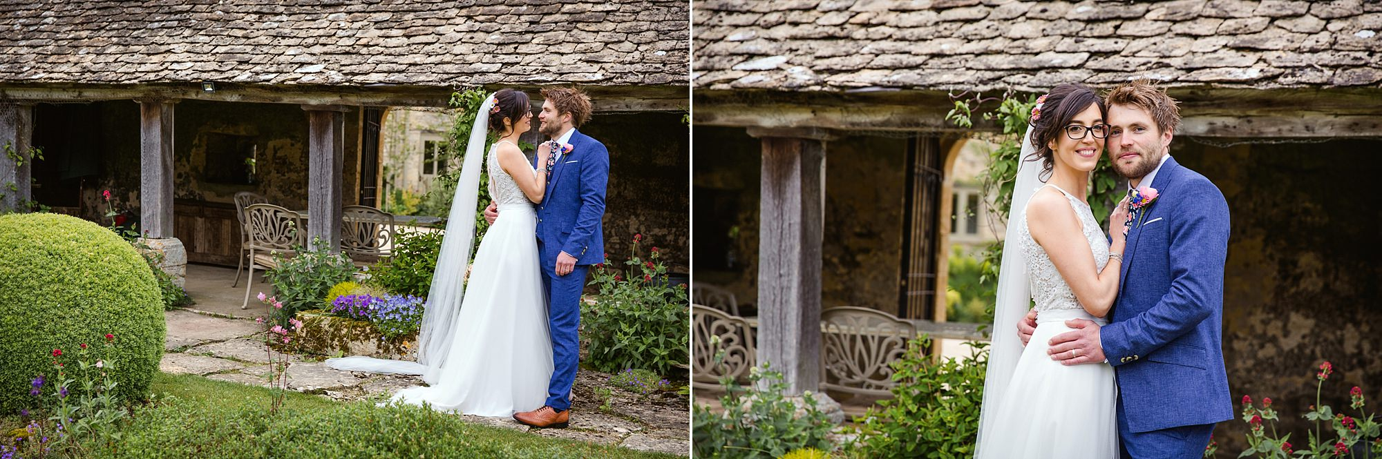Caswell House Wedding portrait off bride and groom in front of the rustic shed