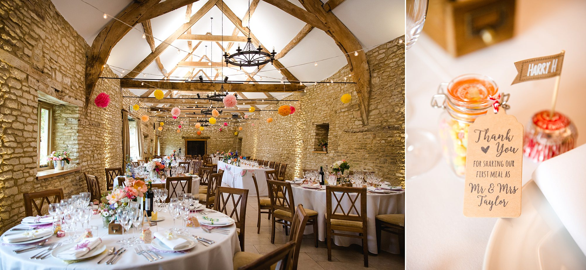 Caswell House Wedding interior decoration of barn