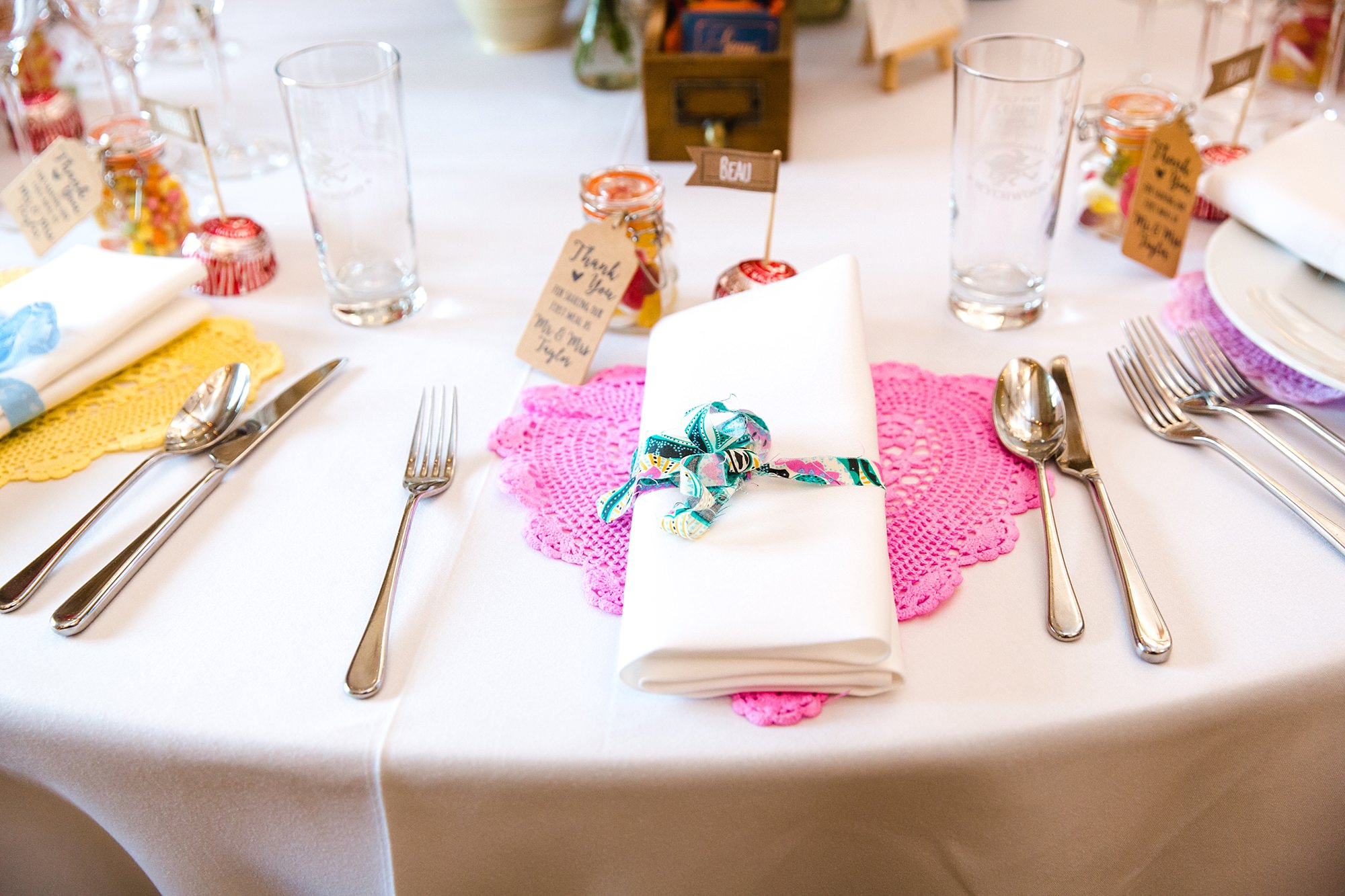 Caswell House Wedding close up detail of bride's crochet table setting