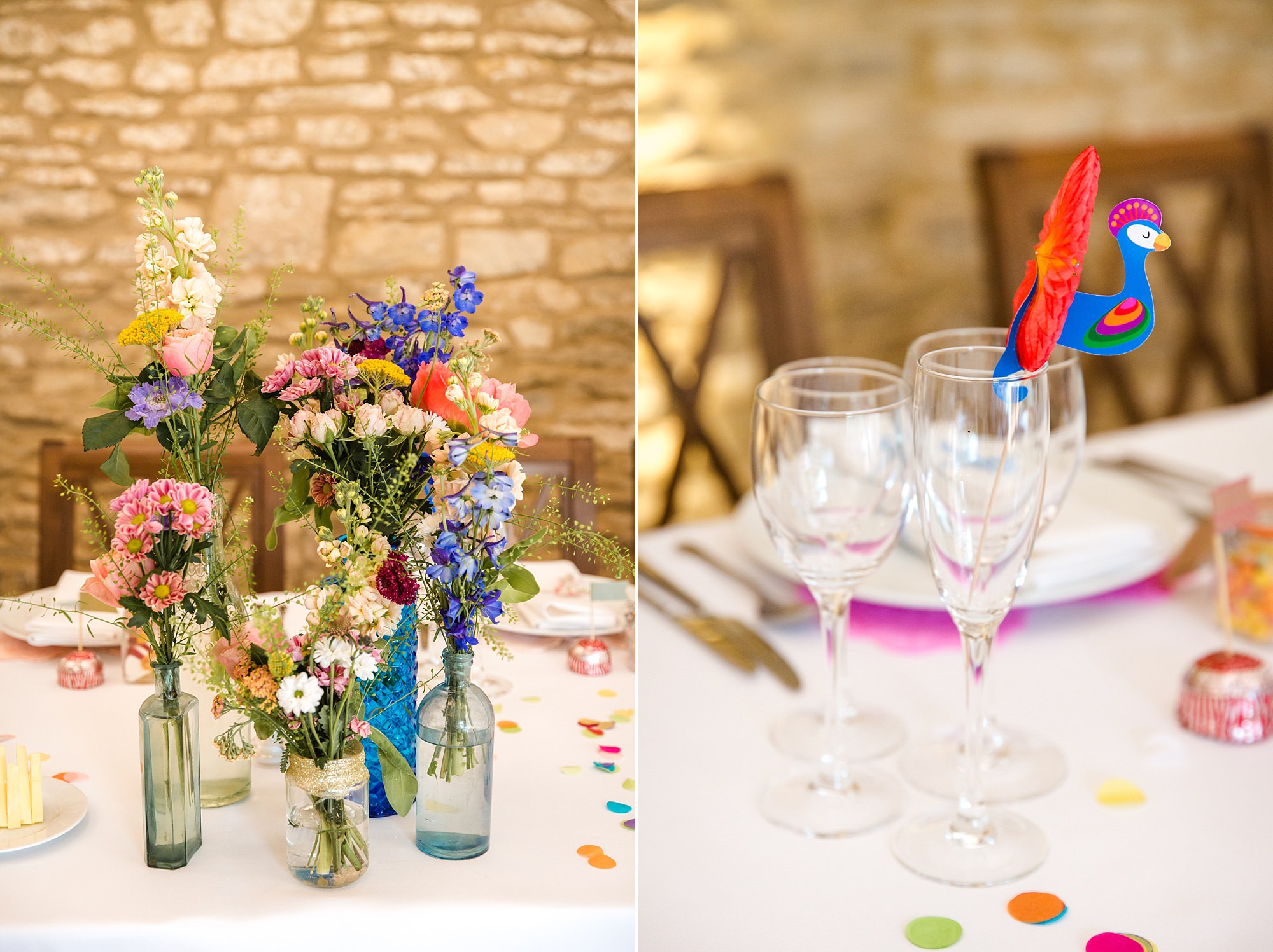 Caswell House Wedding brightly coloured flowers and flamingo decoration