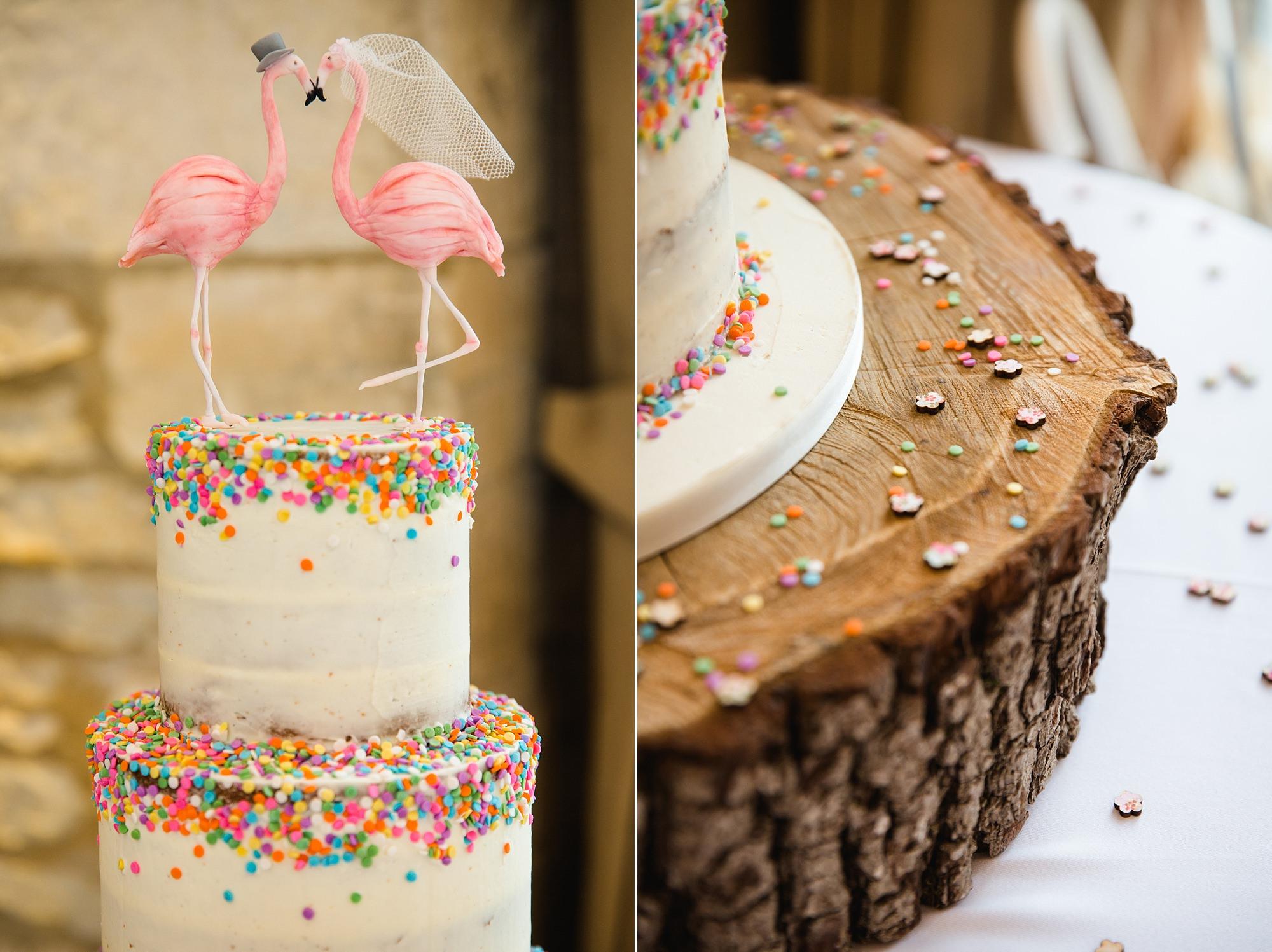 Caswell House Wedding fun flamingo themed wedding cake