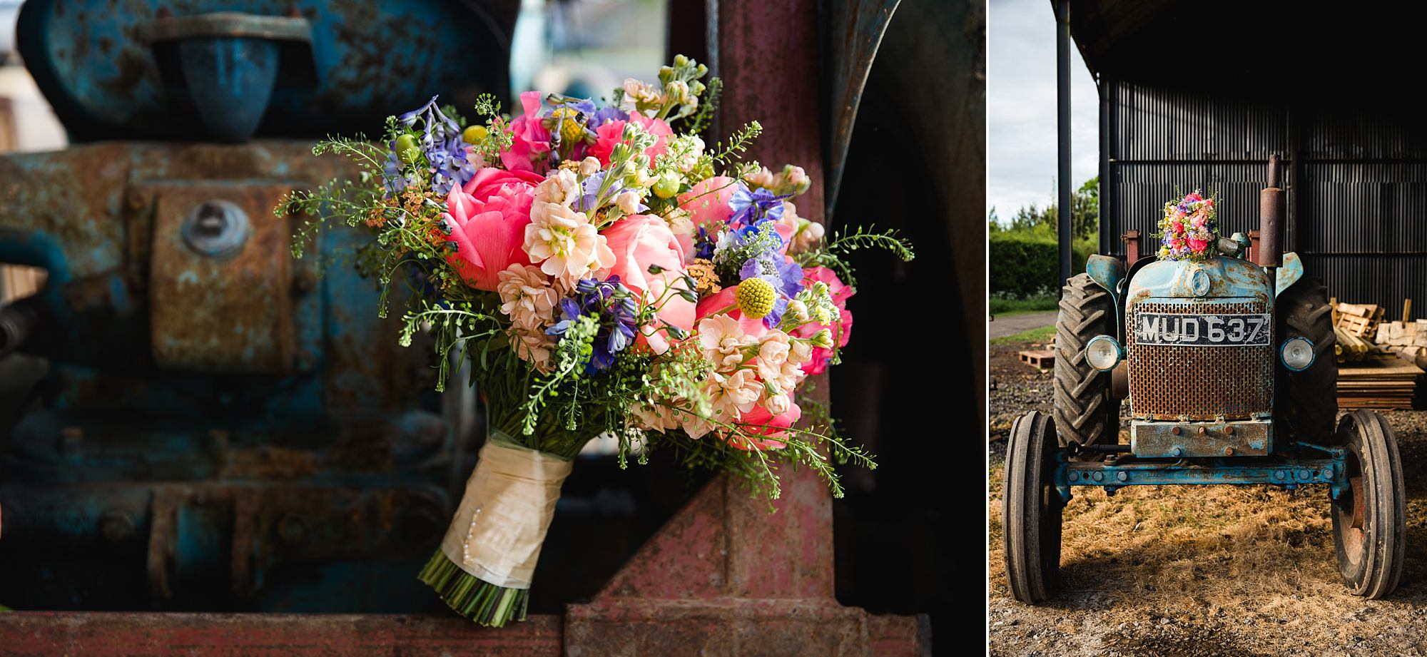 Caswell House Wedding bouquets photographed on top of vintage tractor