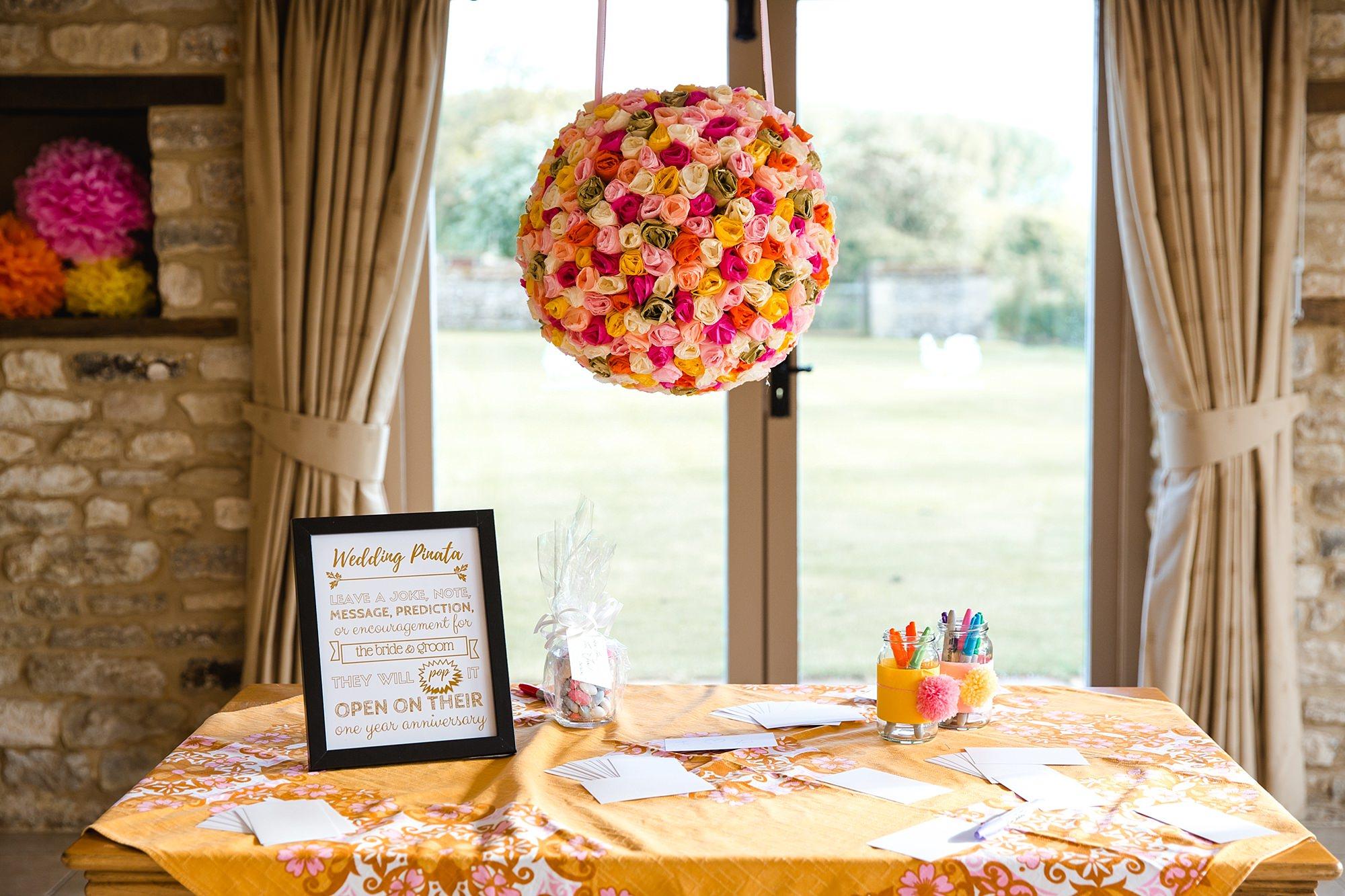 Caswell House Wedding fun coloured piñata
