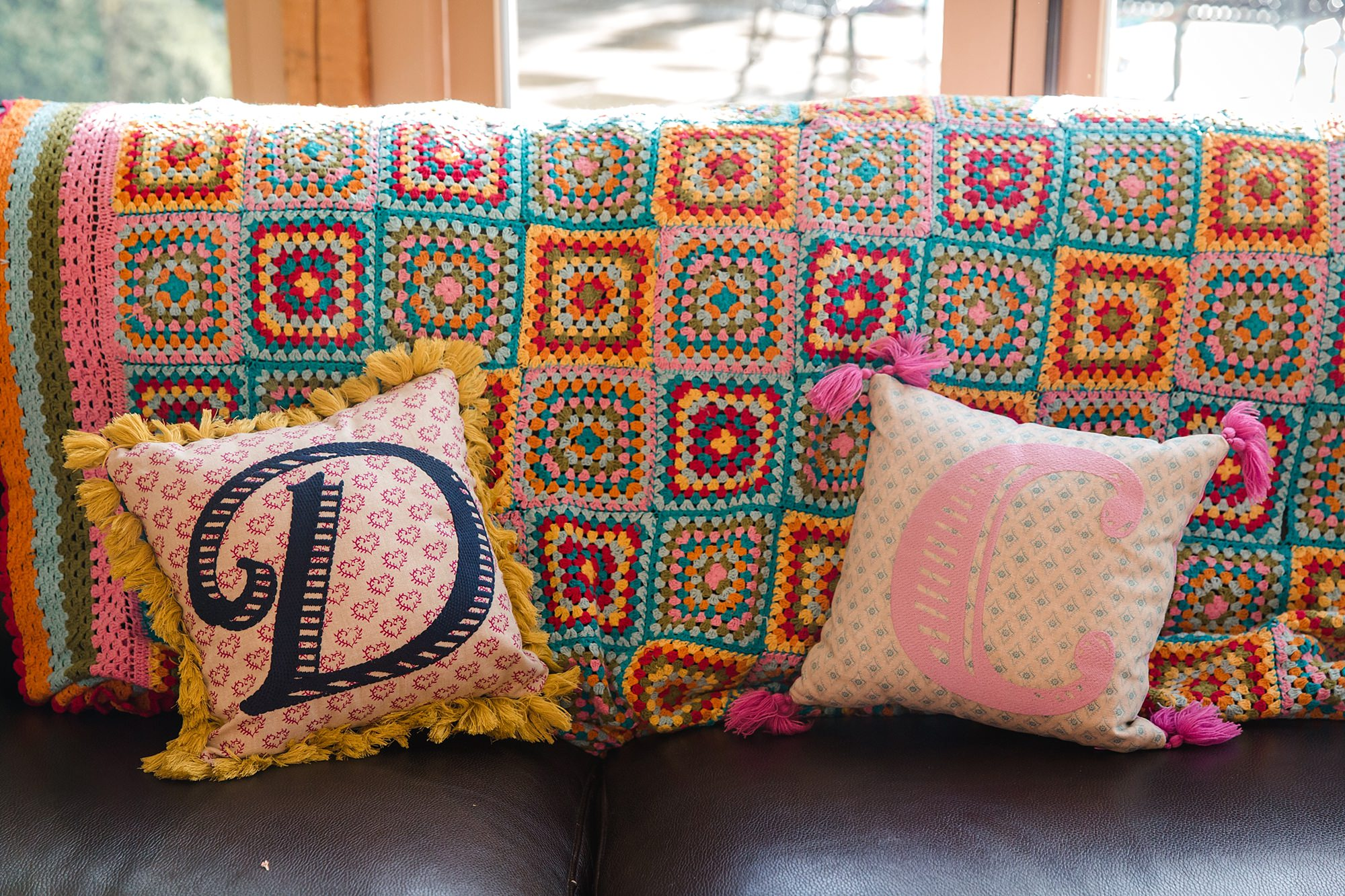Caswell House Wedding fun handmade colourful thrown with personalised cushions