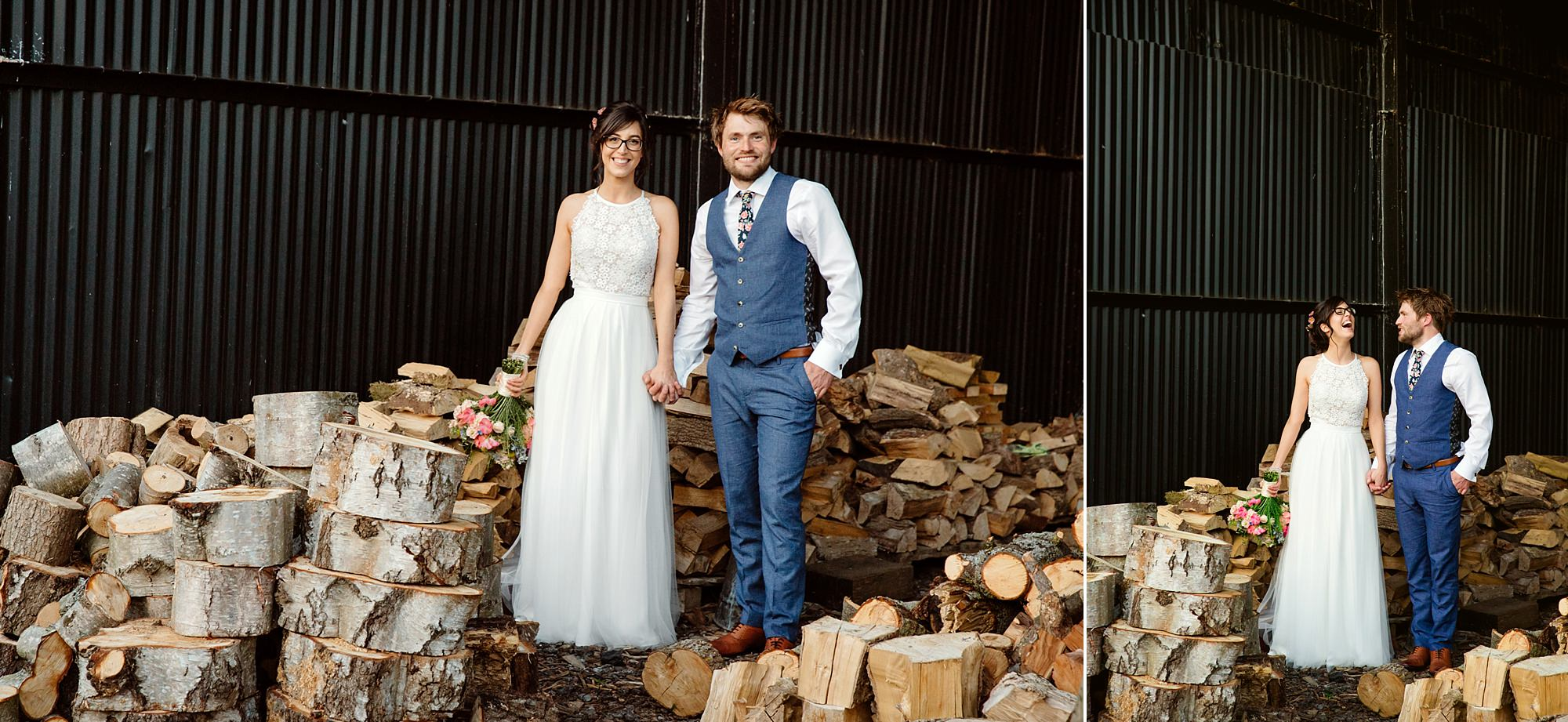 Caswell House Wedding portrait of bride and groom on top of log pile