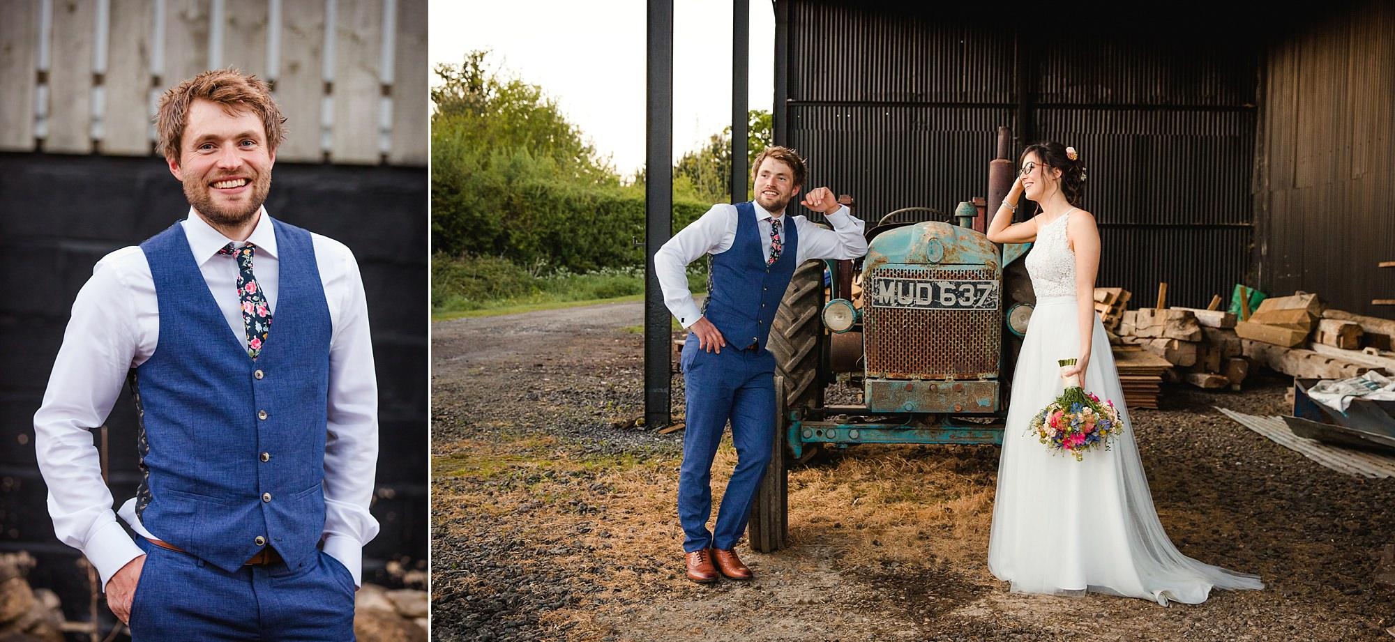 Caswell House Wedding portrait of groom with vintage tractor
