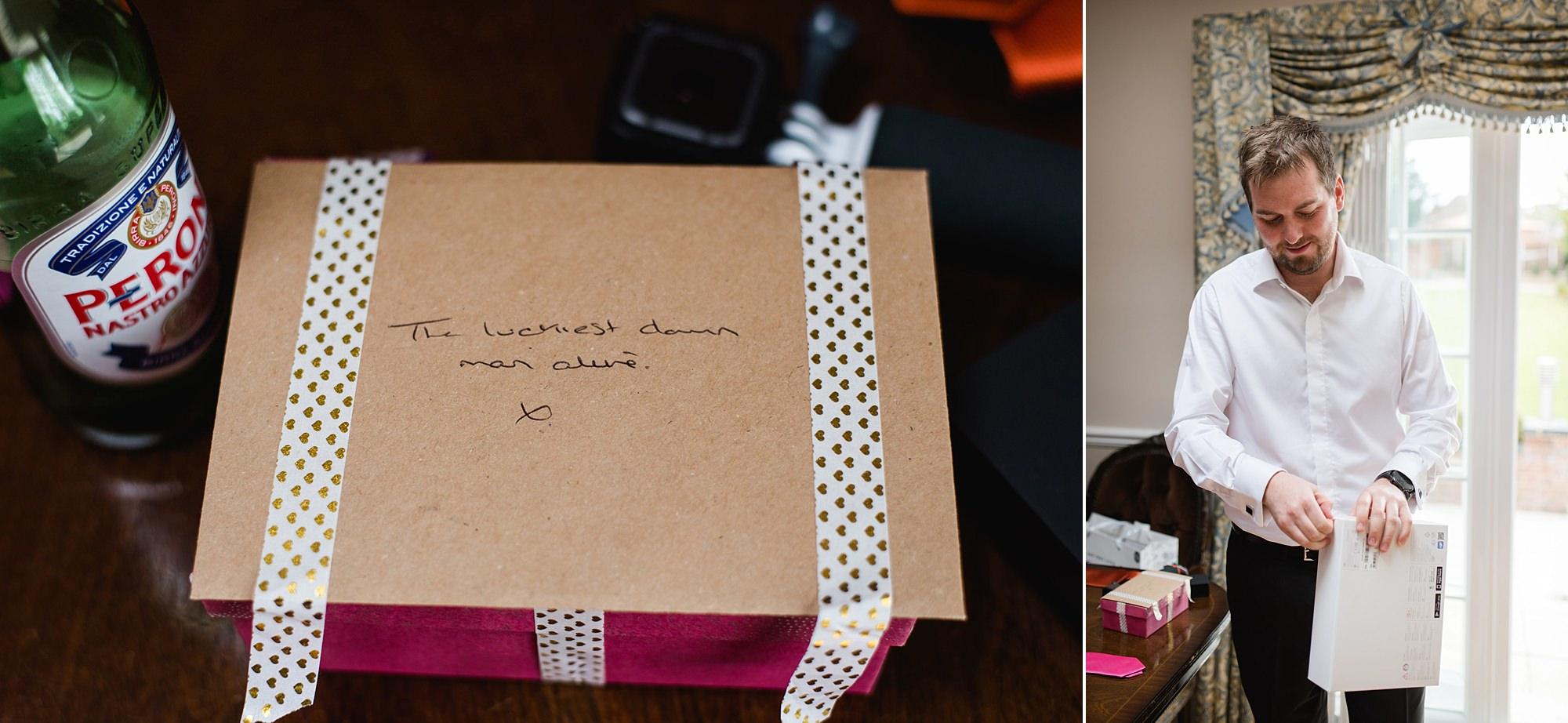 Fun London Wedding bride's gift to groom