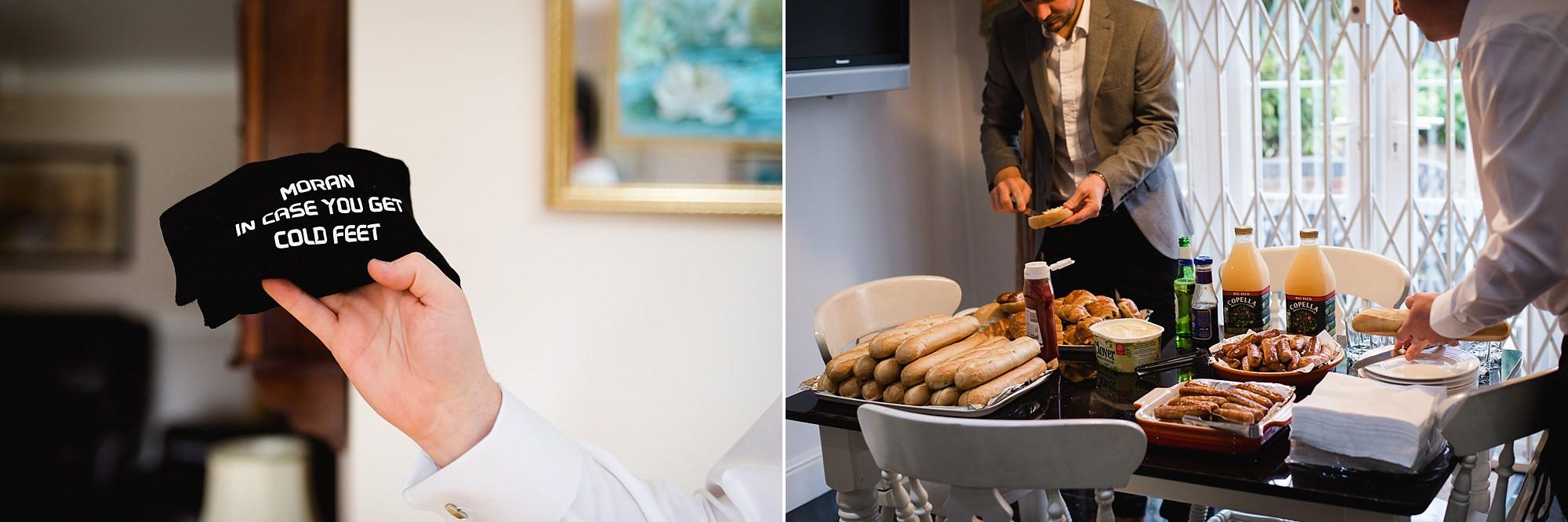 Fun London Wedding groomsmen eating breakfast