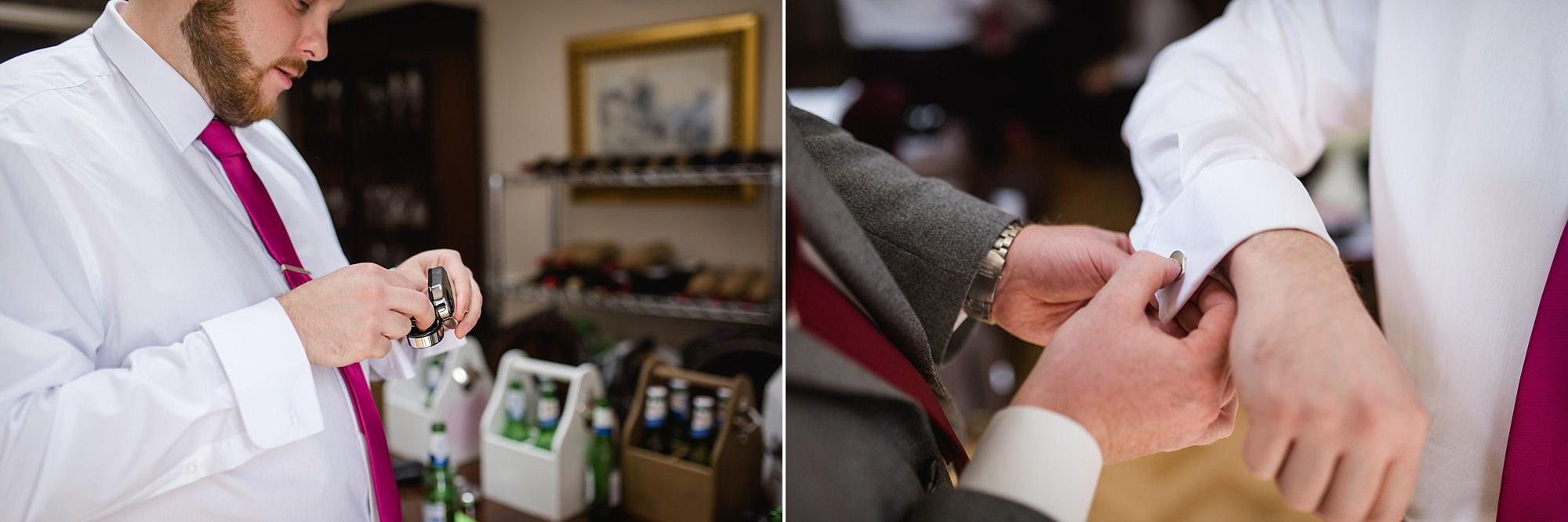 Fun London Wedding groomsmen put on cufflinks