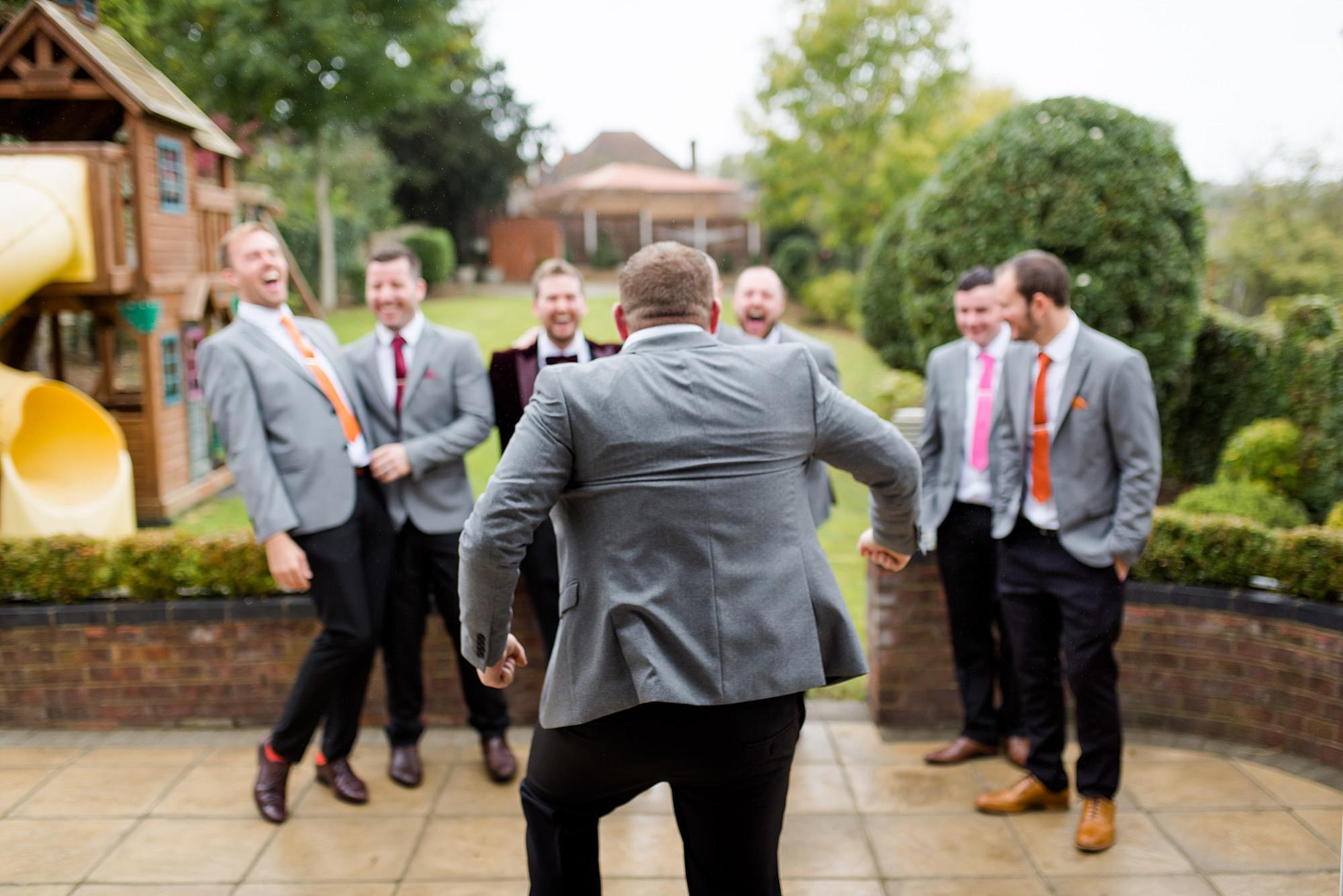Fun London Wedding funny group portrait of groomsmen