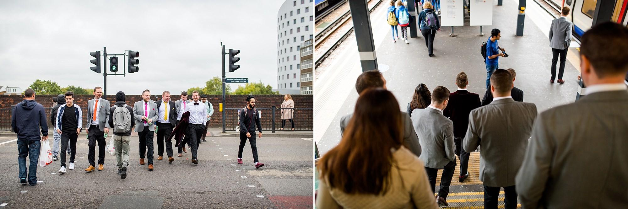 Fun London Wedding groom and groomsmen walk to tube station for brixton wedding