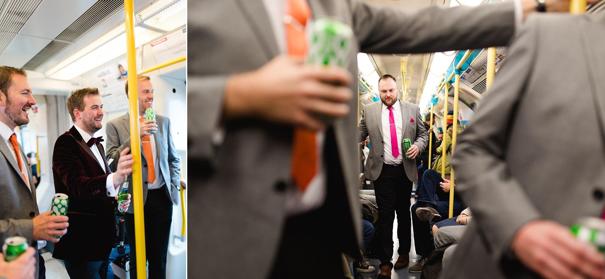 Fun London Wedding portrait of groom and groomsmen on the tube