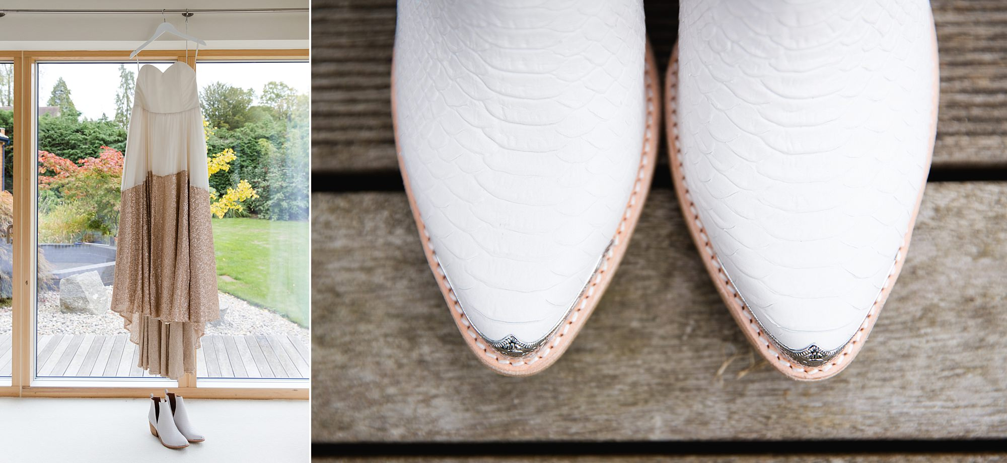 Fun London Wedding brixton a bride's wedding dress hung up with her wedding shoes