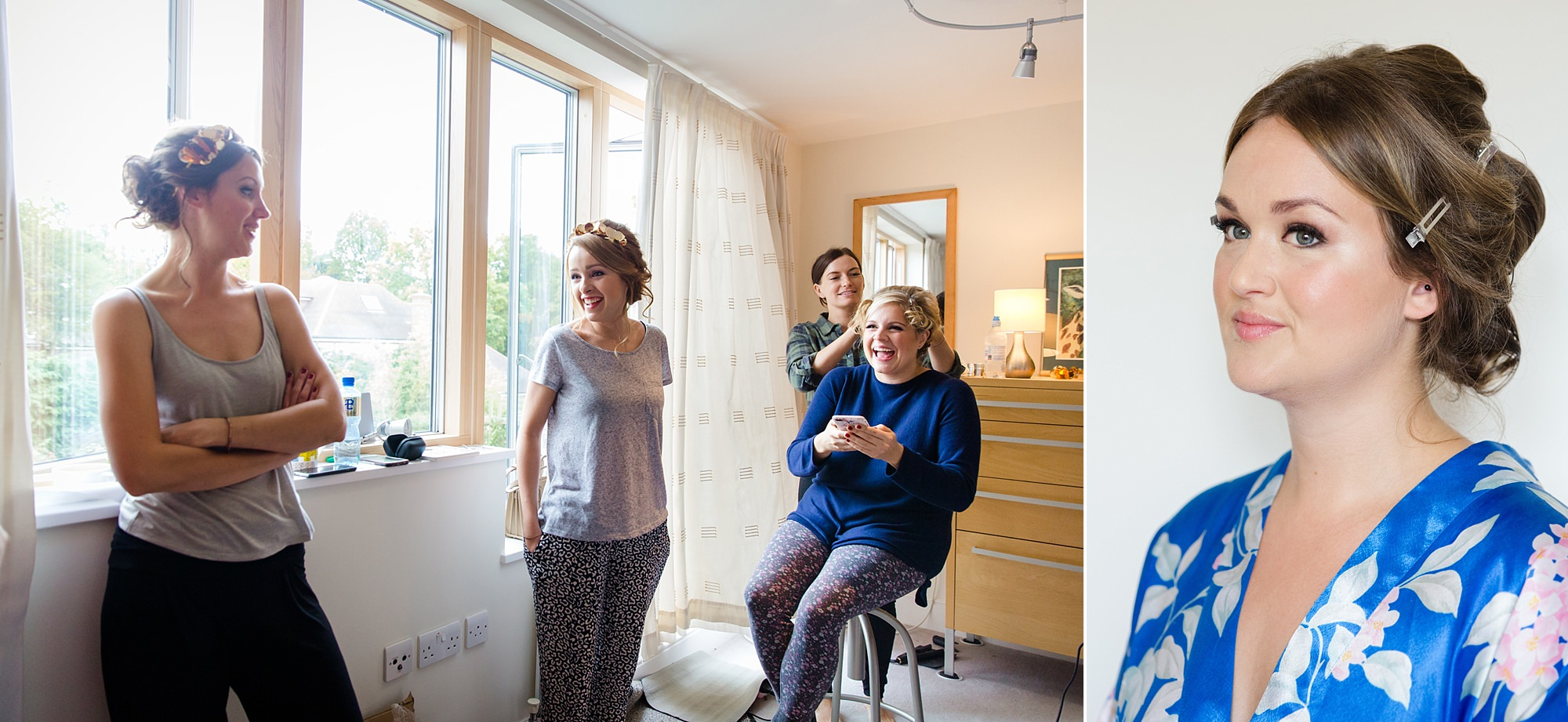 Fun London Wedding portrait of bride and bridesmaids laughing as she gets ready