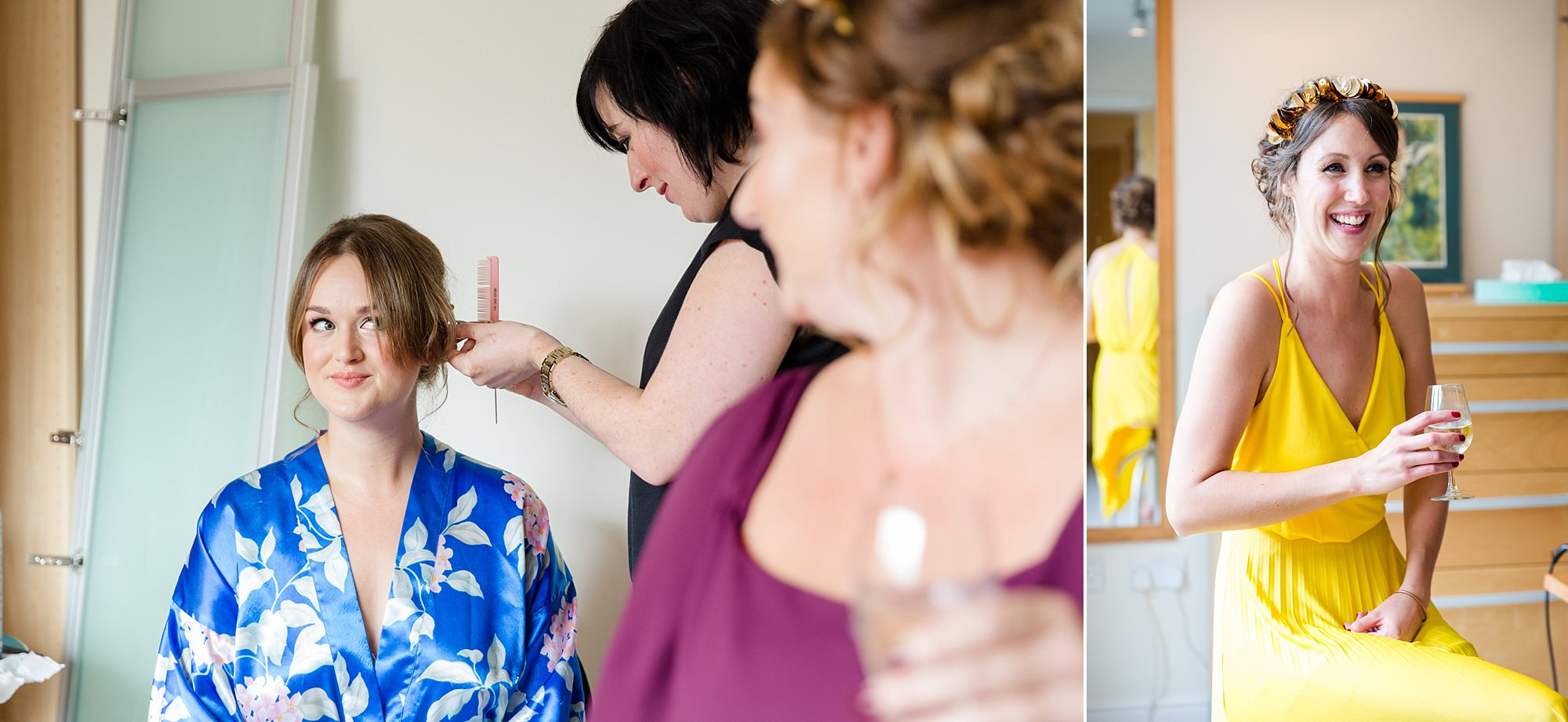 Fun London Wedding portrait of bride and bridesmaids laughing as they get ready
