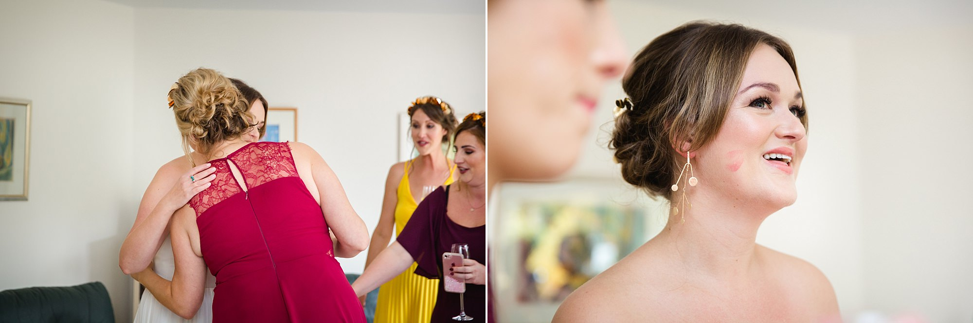 Fun London Wedding bridesmaids hug bride before leaving for wedding