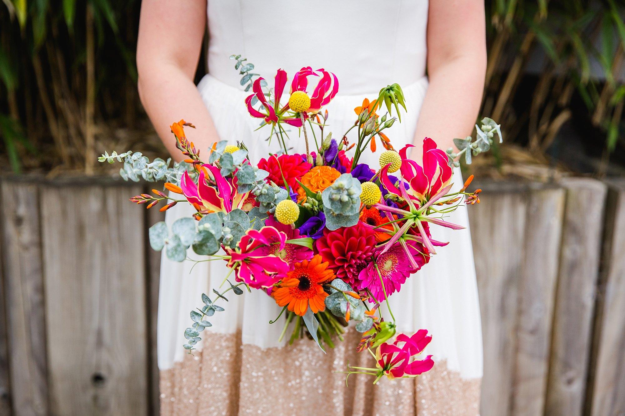 Fun London Wedding bright and colourful bride's bouquet
