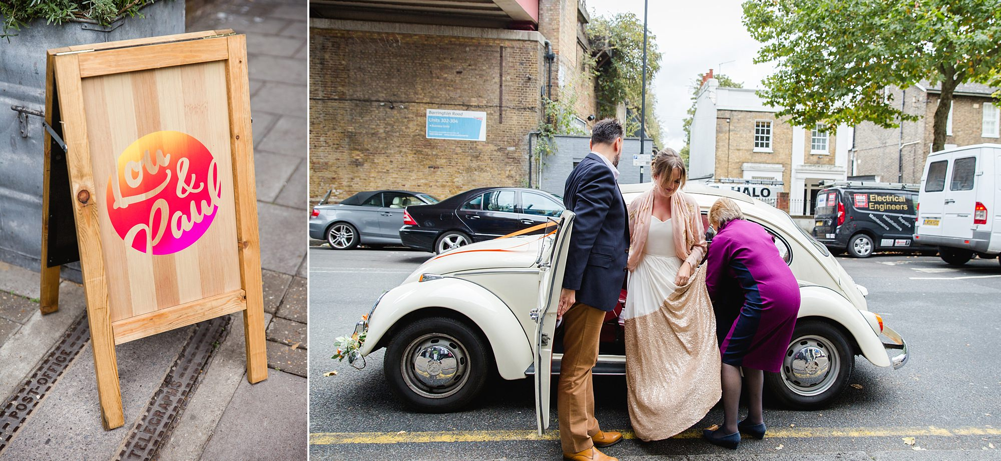 Fun London Wedding bride arrives for wedding ceremony in brixton
