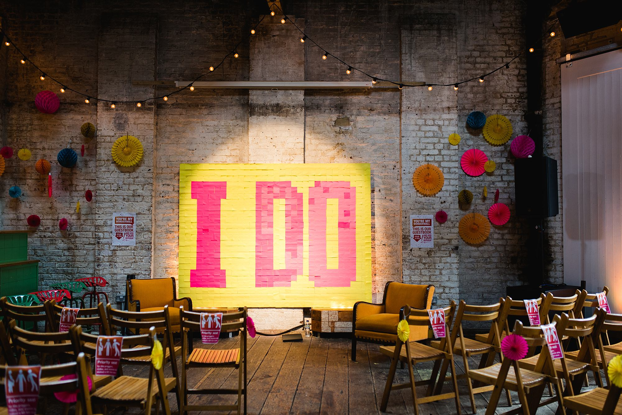 Fun London Wedding I Do sign made out of post it notes at brixton east