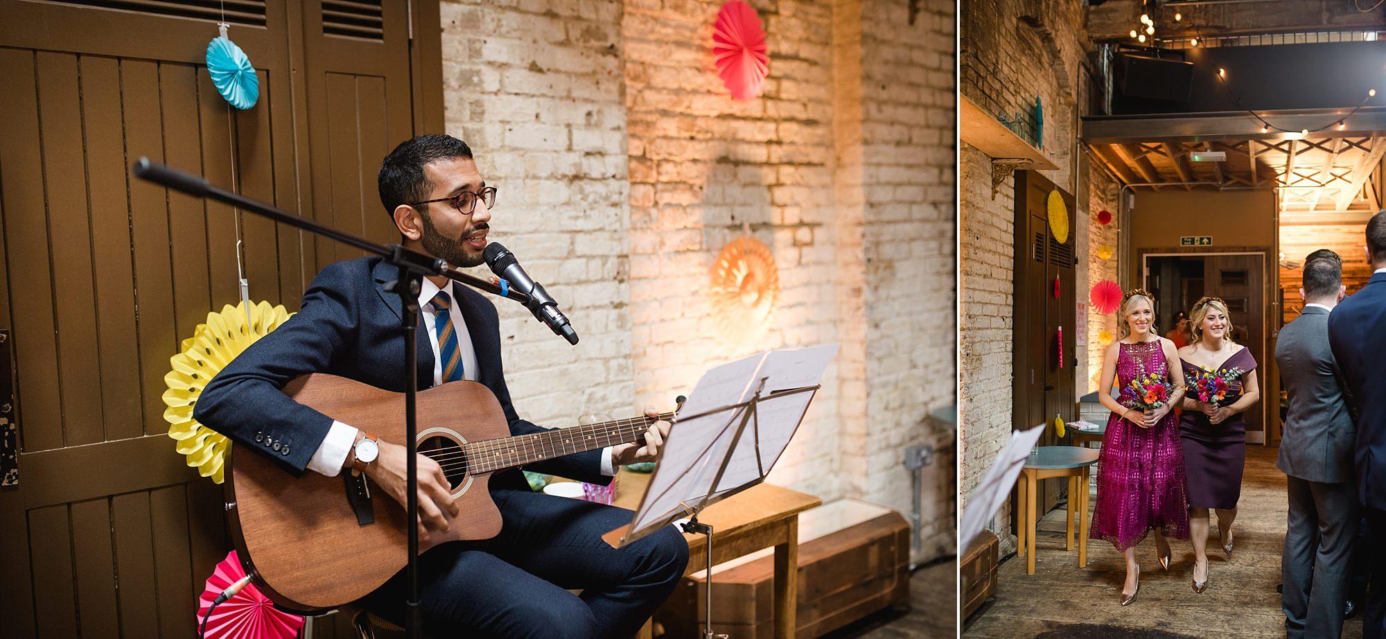 Fun London Wedding a musician sings as bridesmaids walk down the aisle