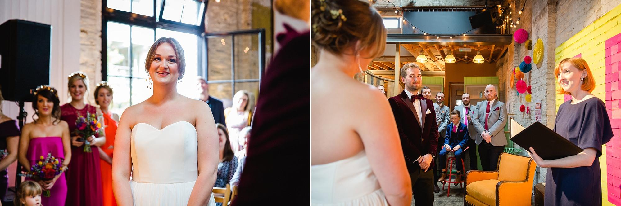 Fun London Wedding portrait of bride and groom during wedding ceremony