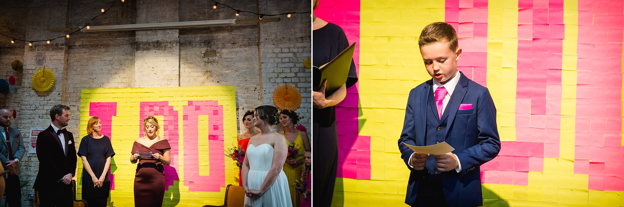 Fun London Wedding guests doing readings during ceremony