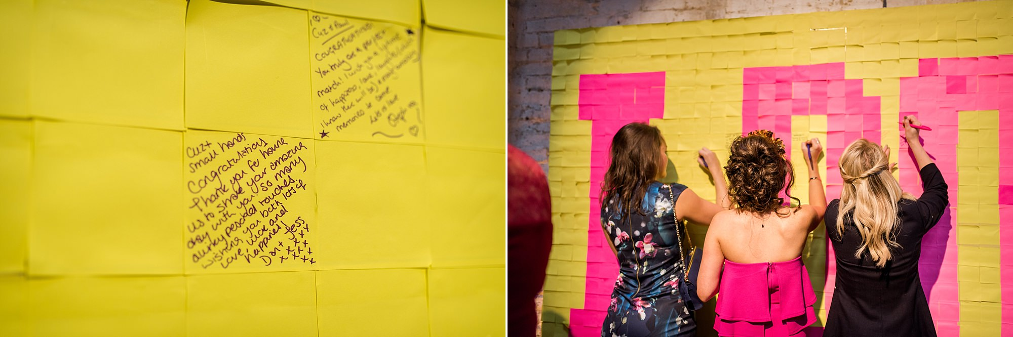 Fun London Wedding a post it note wall as a guest book