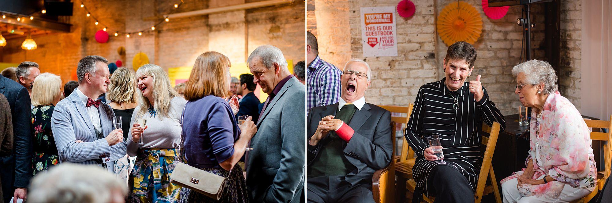 Fun London Wedding guests enjoying drinks reception