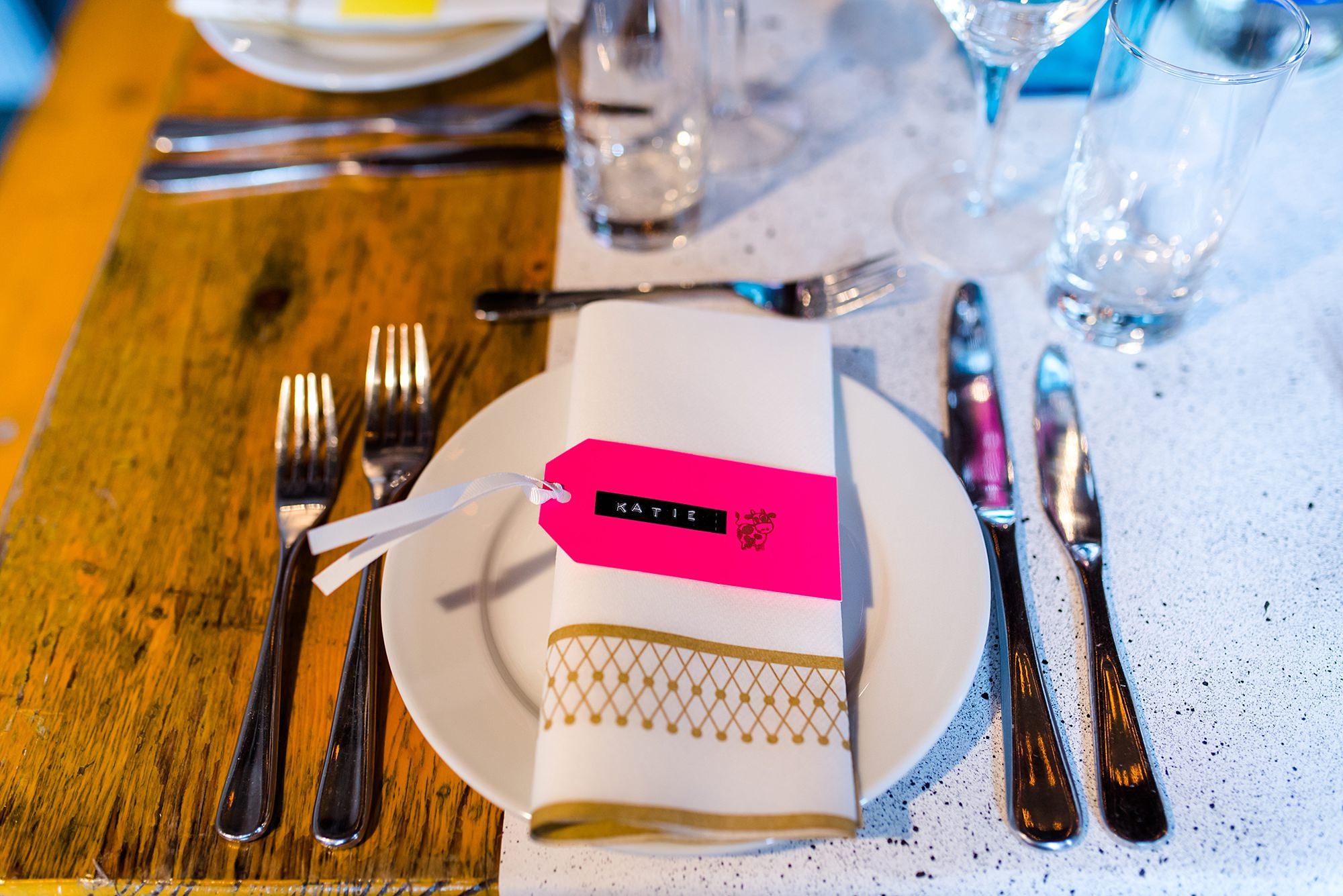 Fun London Wedding bright coloured table settings at brixton east
