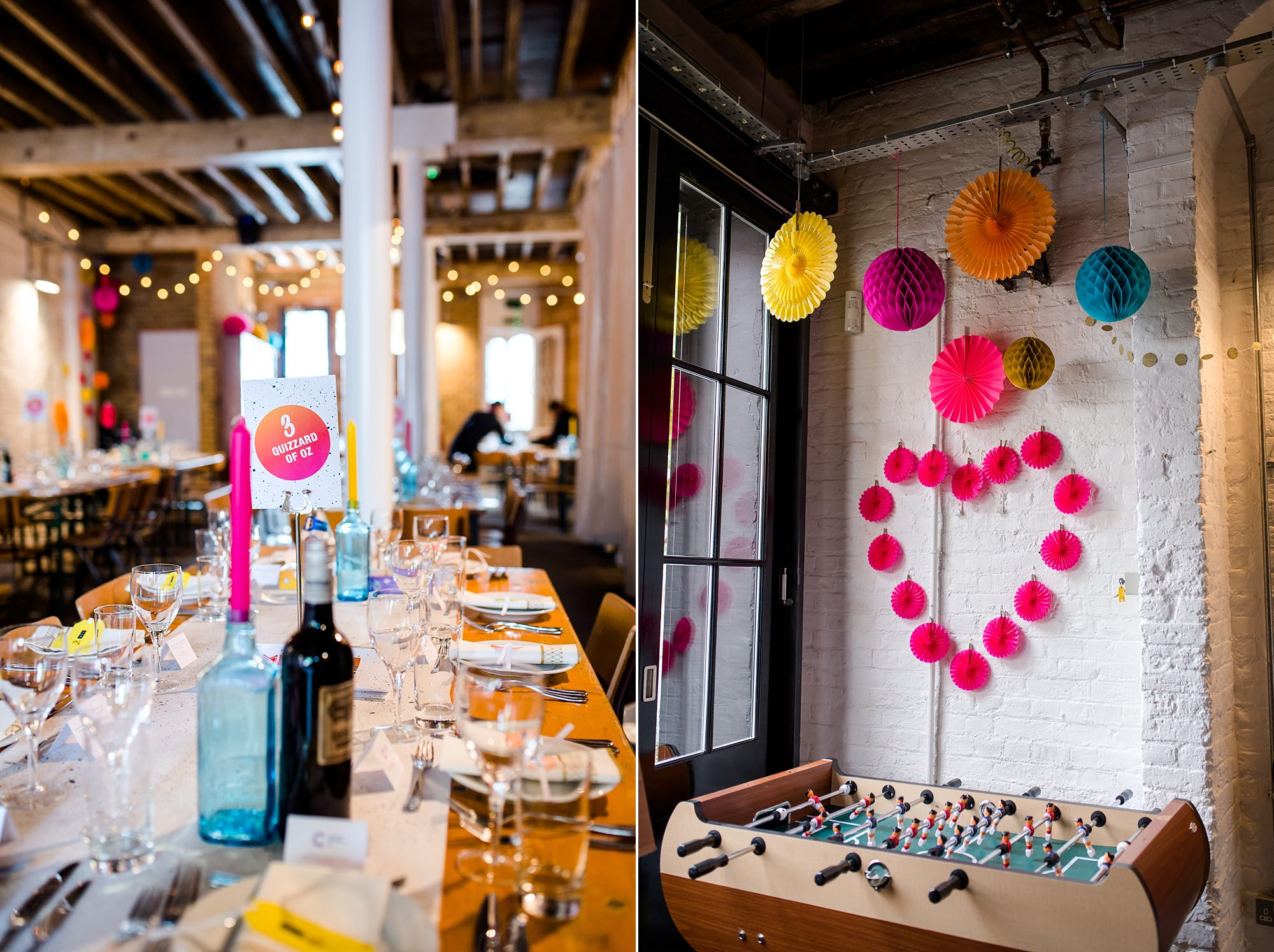 Fun London Wedding bright coloured handmade wall decorations at brixton east
