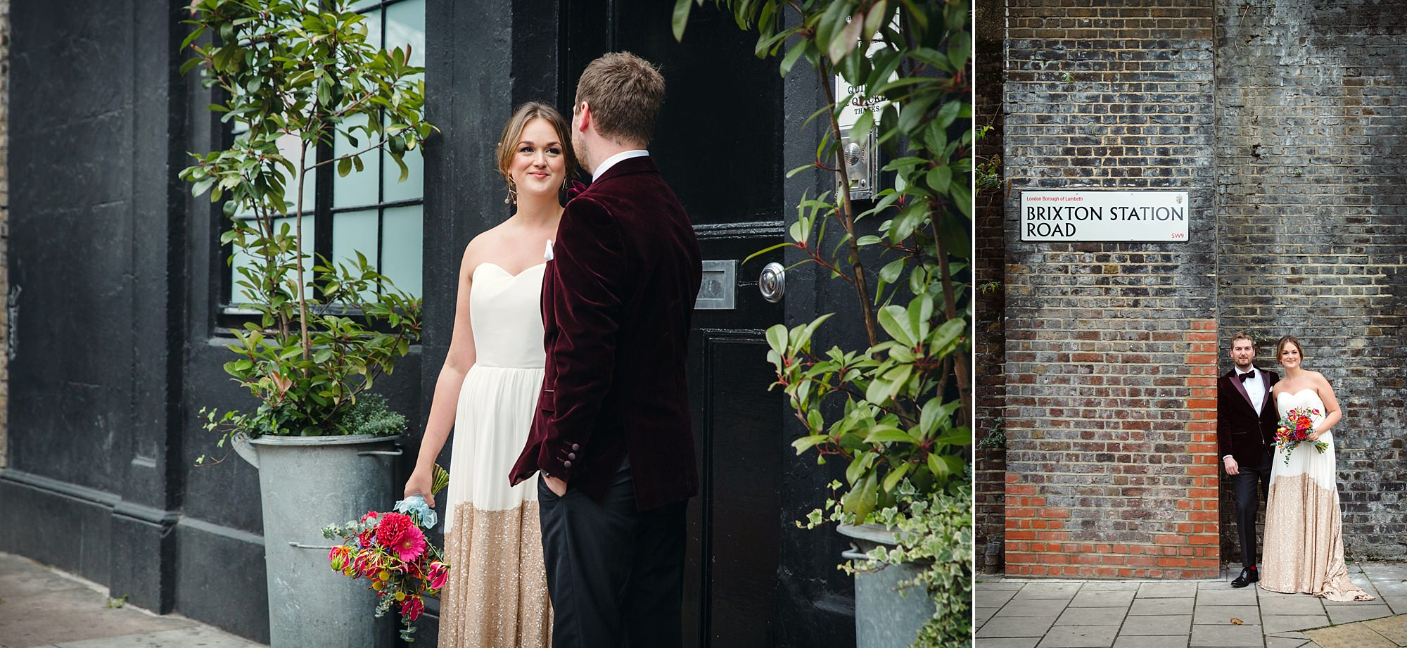 Fun London Wedding a bride and groom stand outside brixton east venue