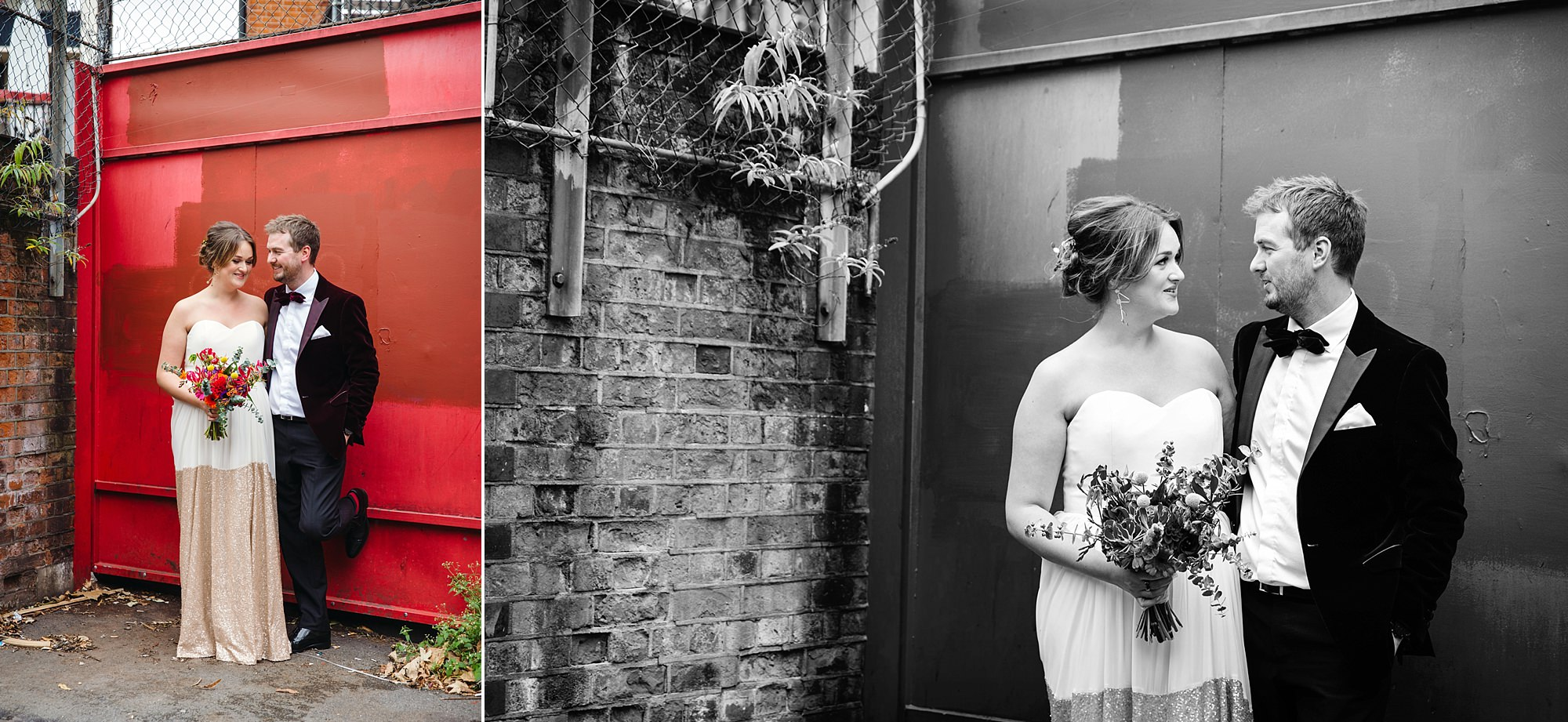 Fun London Wedding bride and groom urban portrait