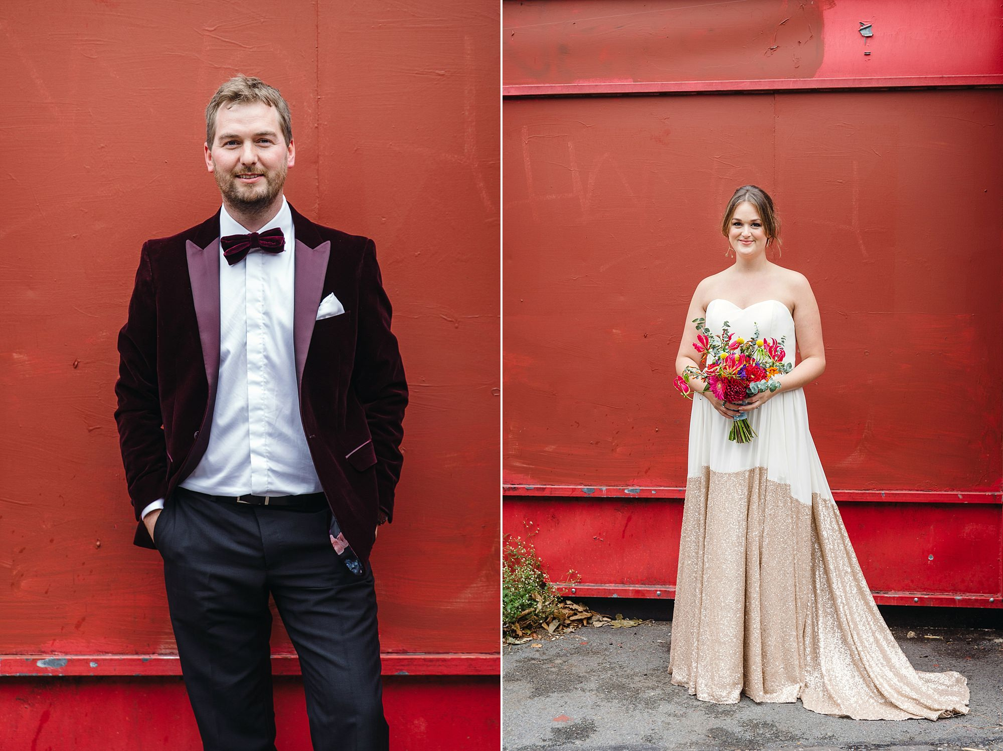 Fun London Wedding groom and bride urban portrait in front of red wall in brixton