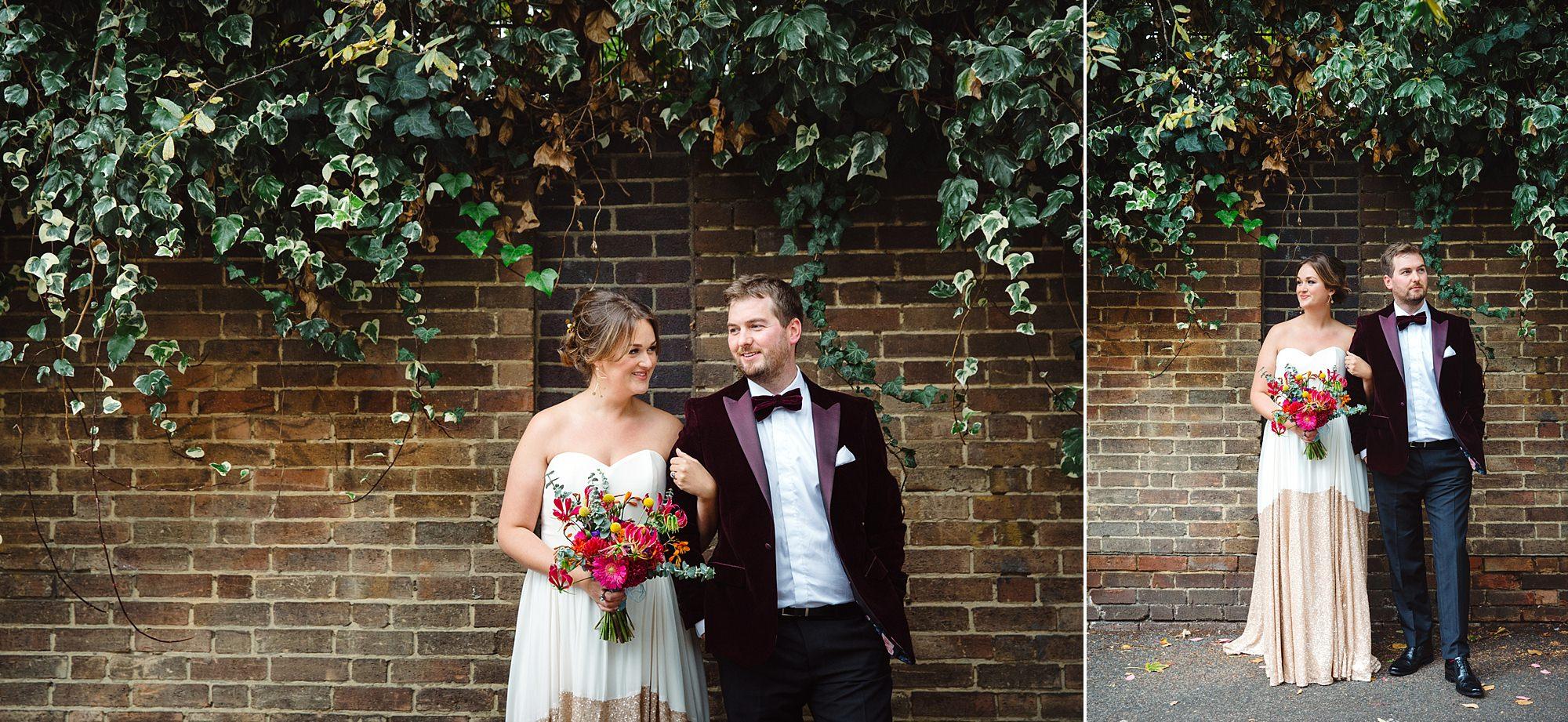 Fun London Wedding bride and groom wedding portraits in brixton