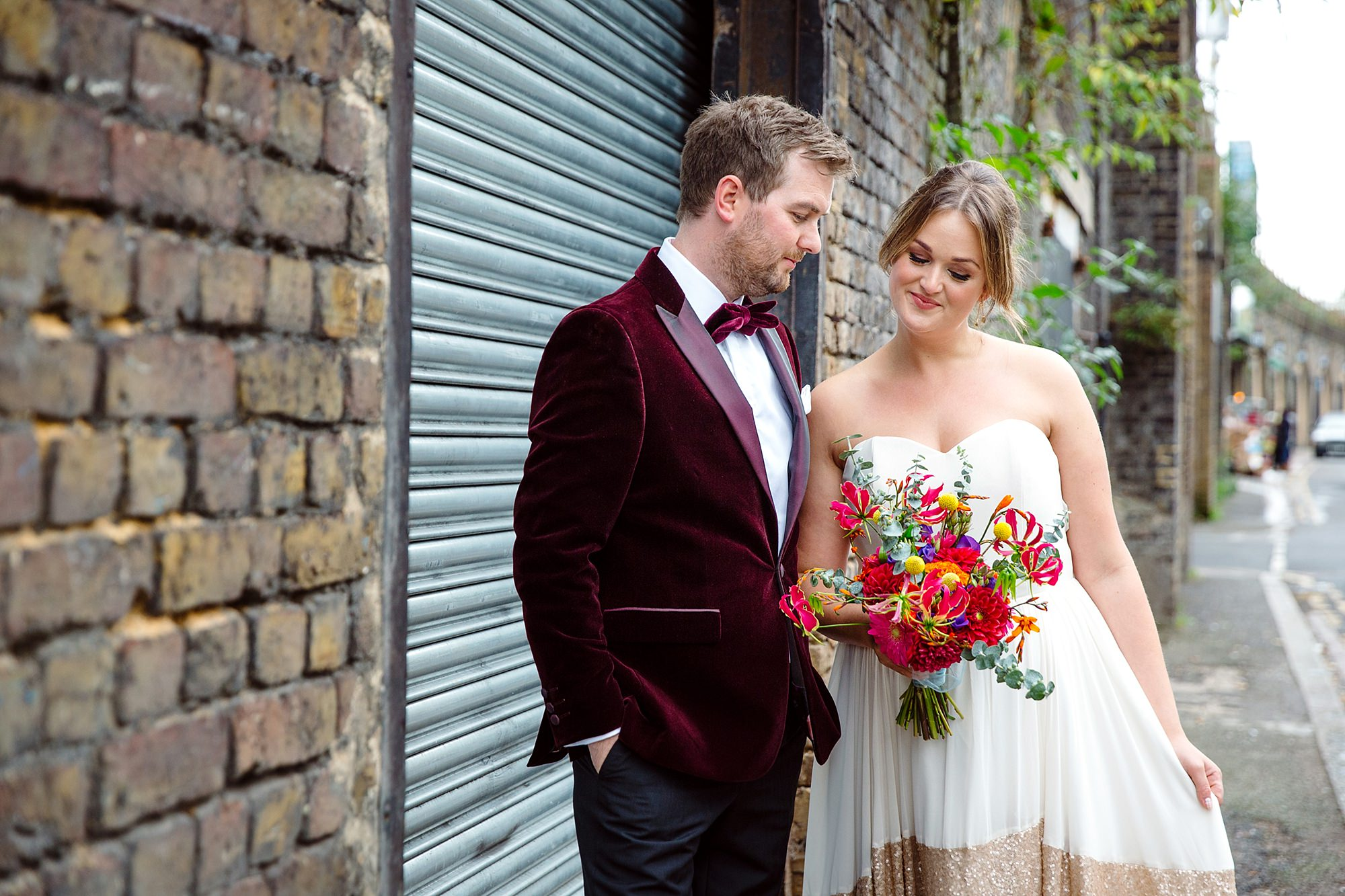 Fun London Wedding portrait of bride and groom together in brixton