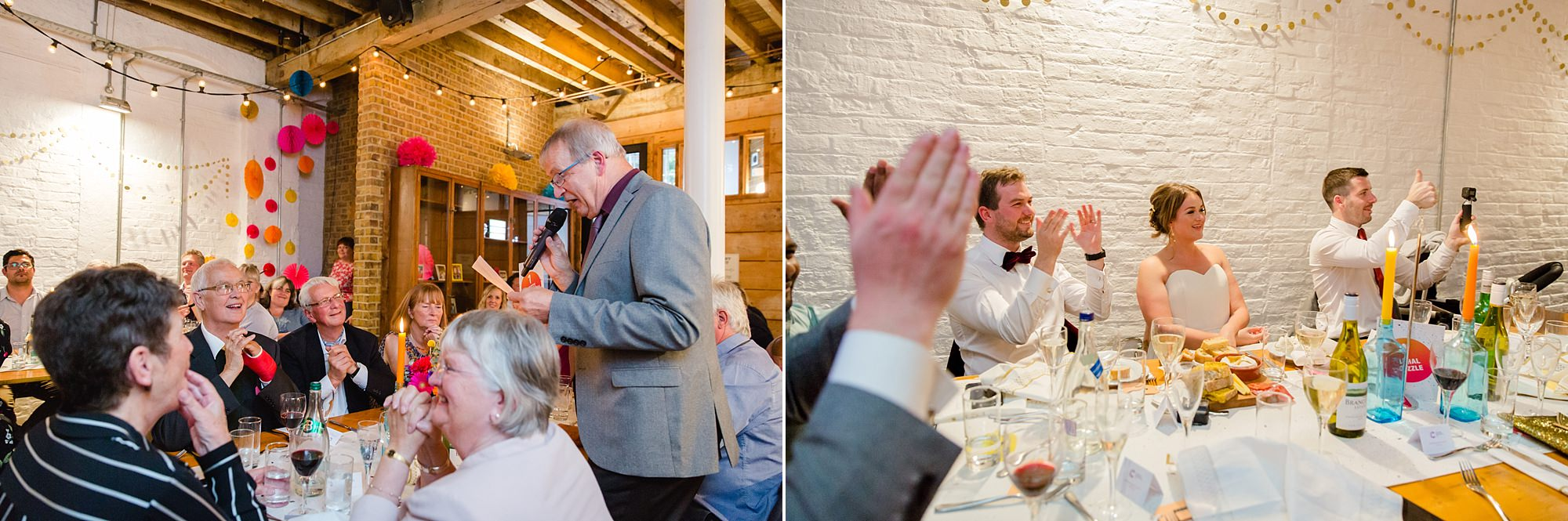 Fun London Wedding father of the bride gives a speech at brixton east