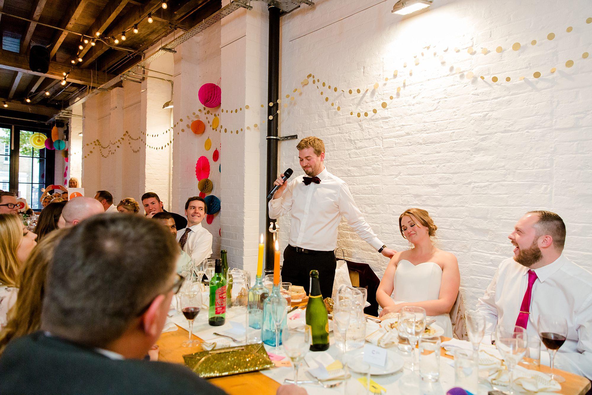 Fun London Wedding grooms gives a s wedding speech at brixton east