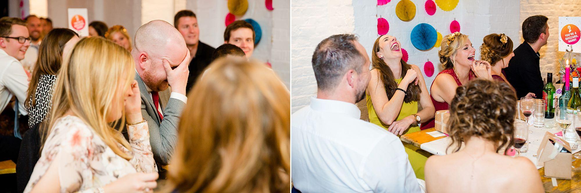Fun London Wedding guests enjoying speeches at brixton east