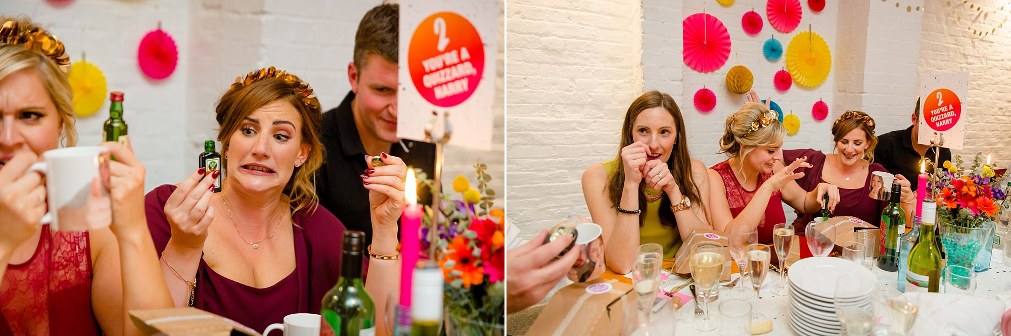 Fun London Wedding guests pour liquor shots into mugs