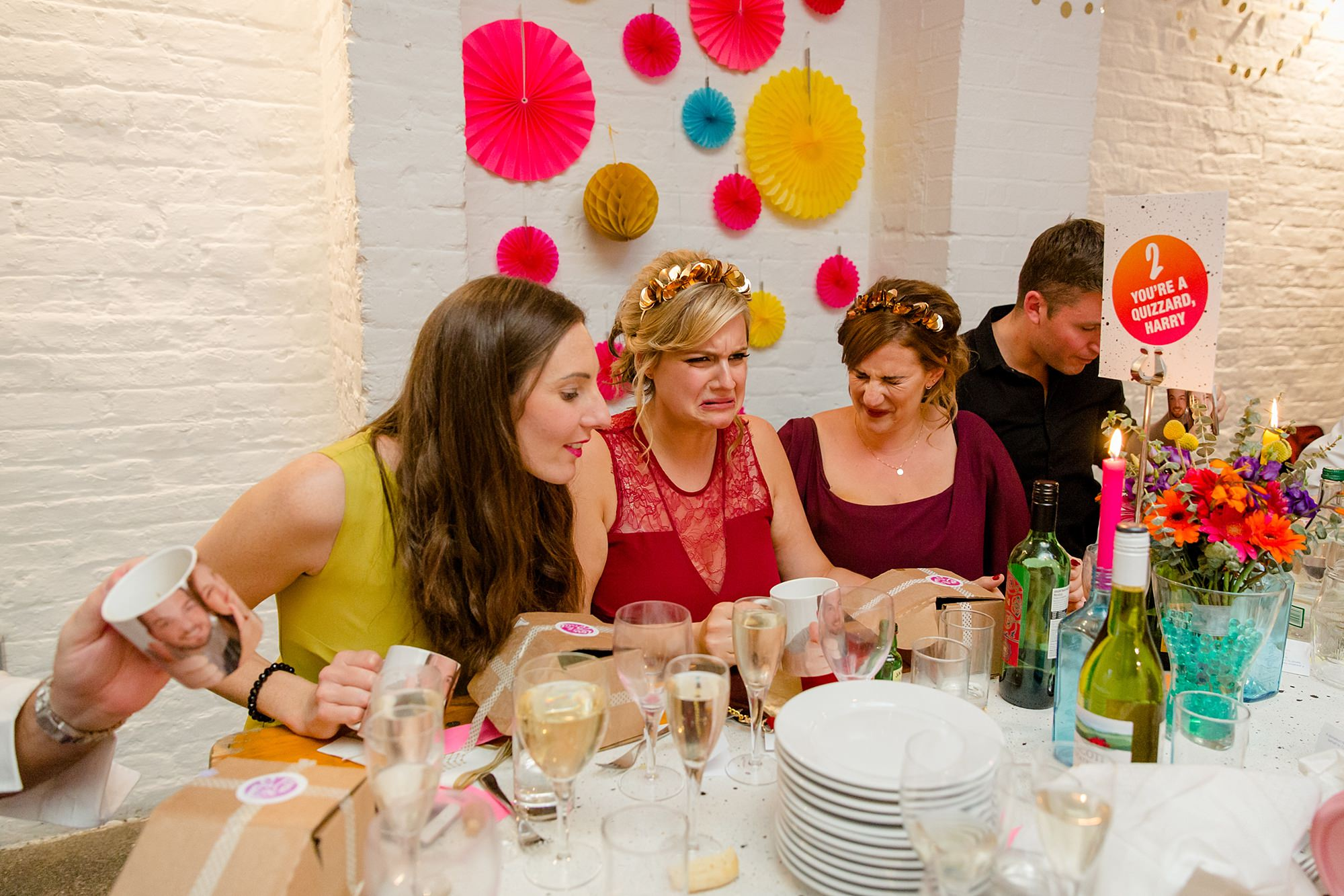 Fun London Wedding funny guests reaction faces after doing a liquor shot