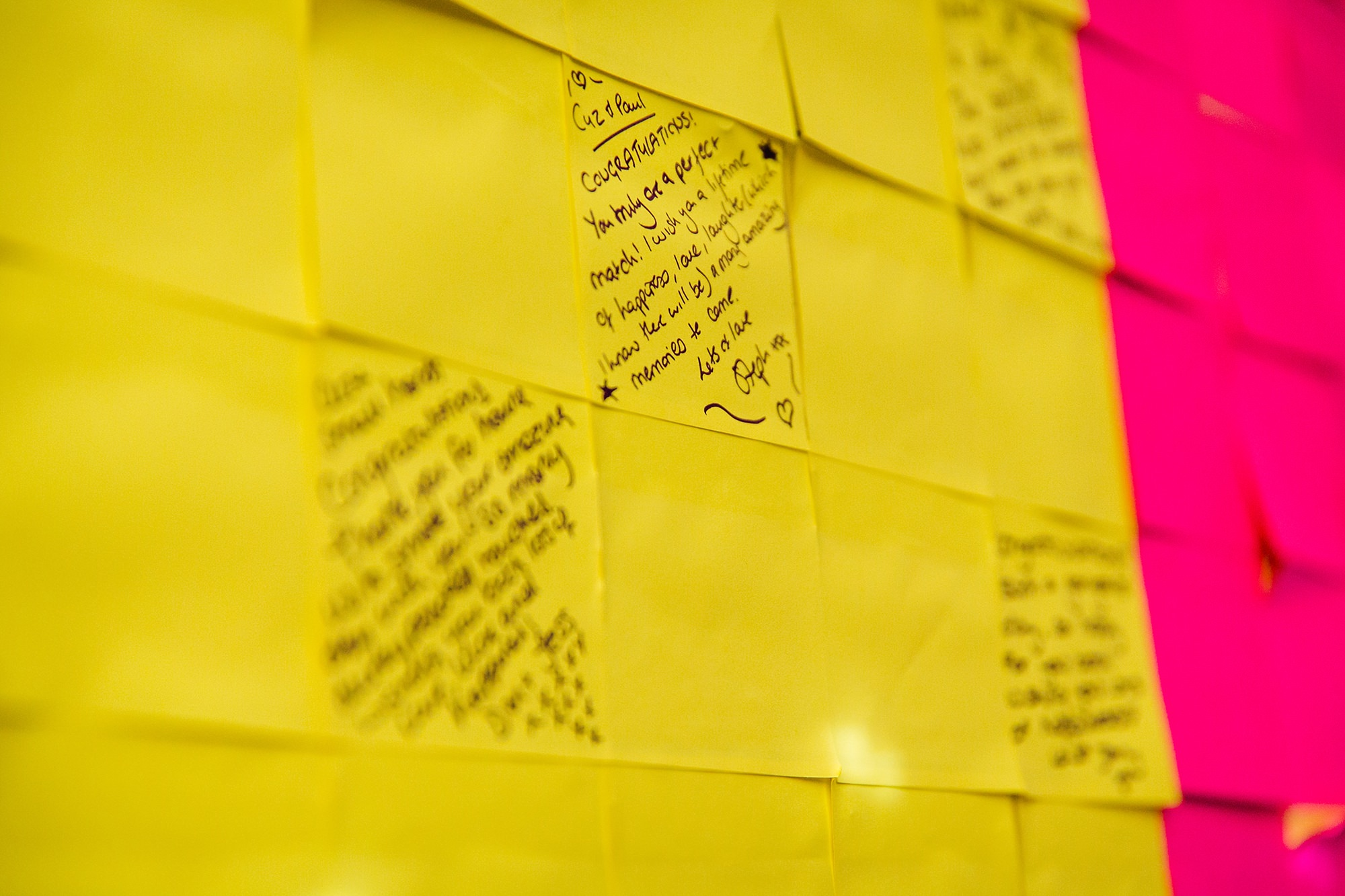 Fun London Wedding messages from guests on post it note sign as wedding guest book