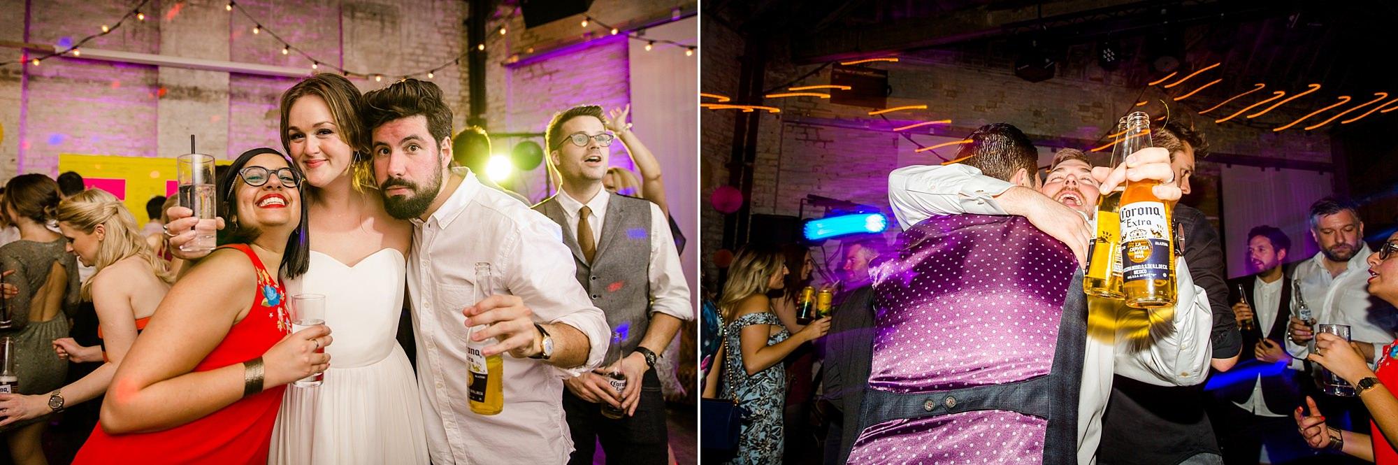 Fun London Wedding guests enjoying evening reception party in brixton